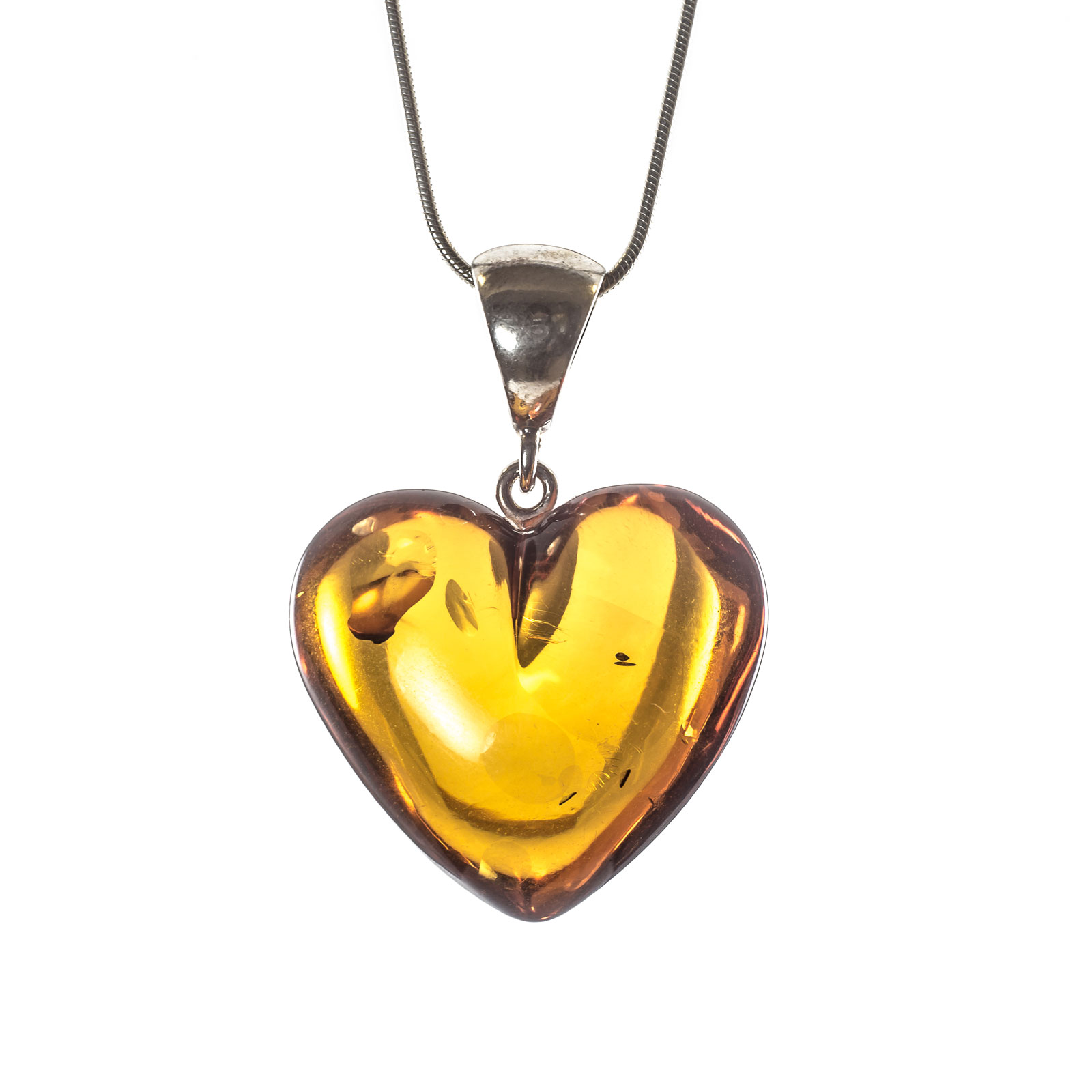"Silver Pendant with Natural Baltic Amber ""Treasure II"" Cognac"