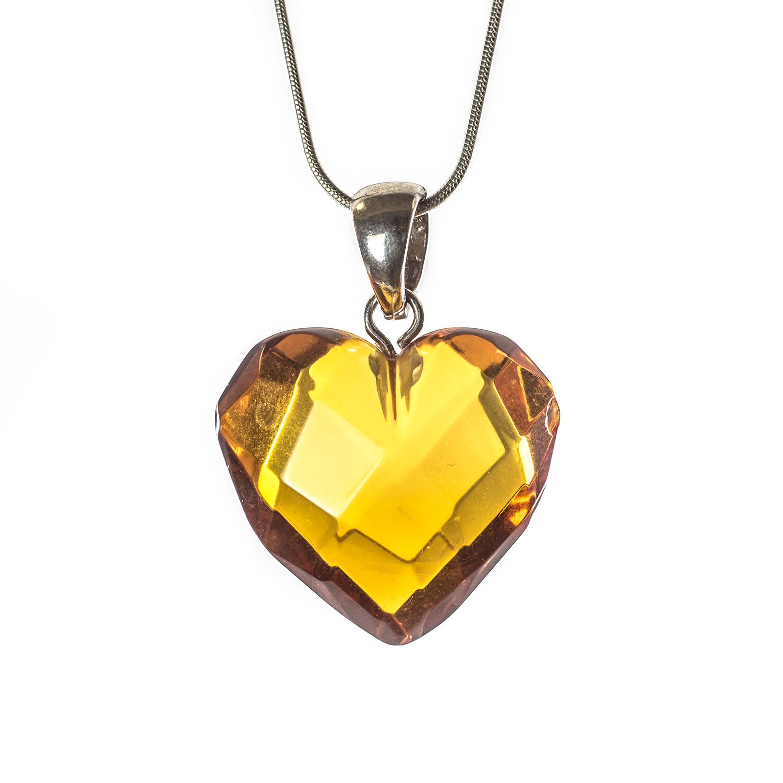 "Silver Pendant with Natural Faceted Baltic Amber ""Treasure"""