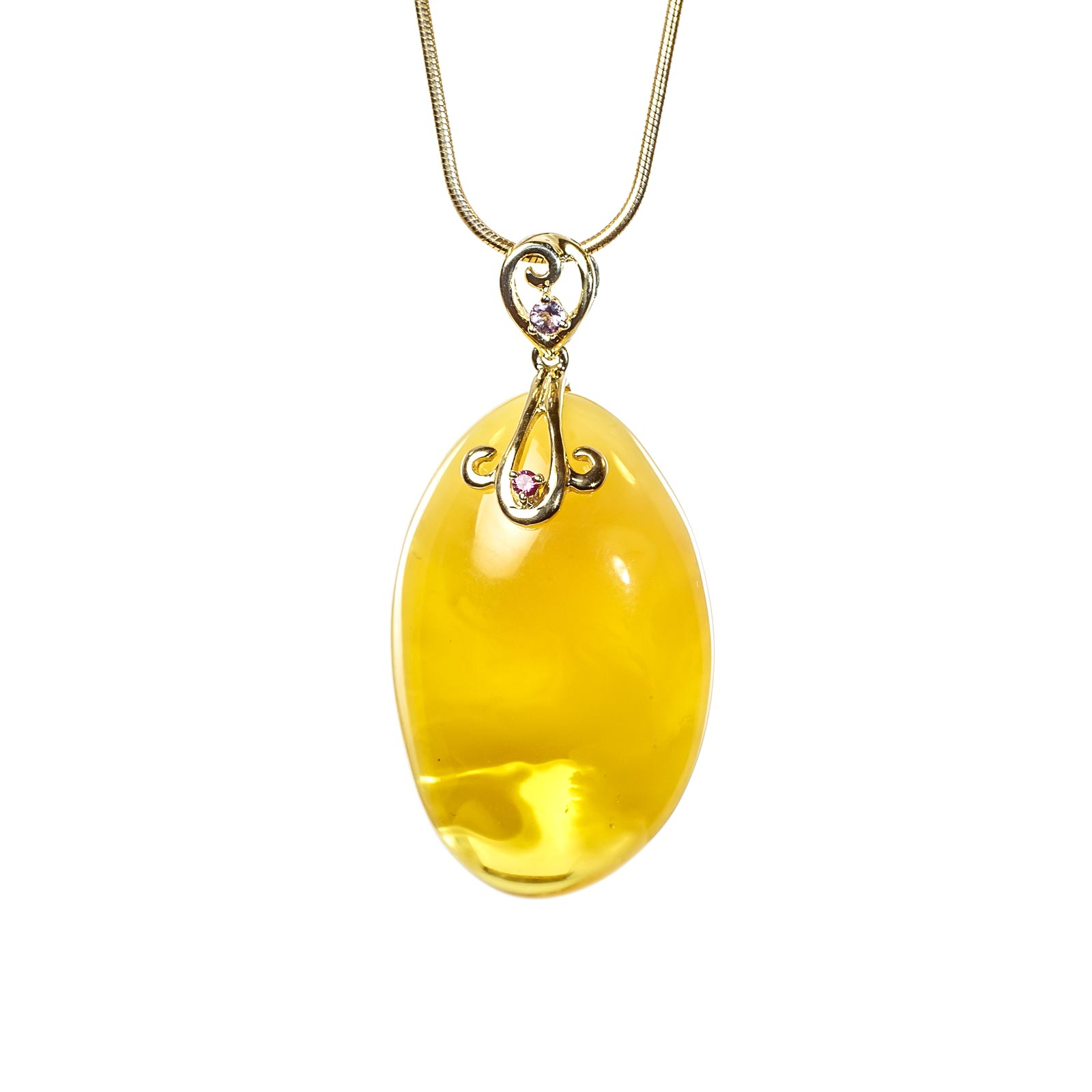 "Natural Baltic Amber Pendant with 14k Gold ""Amatica"""
