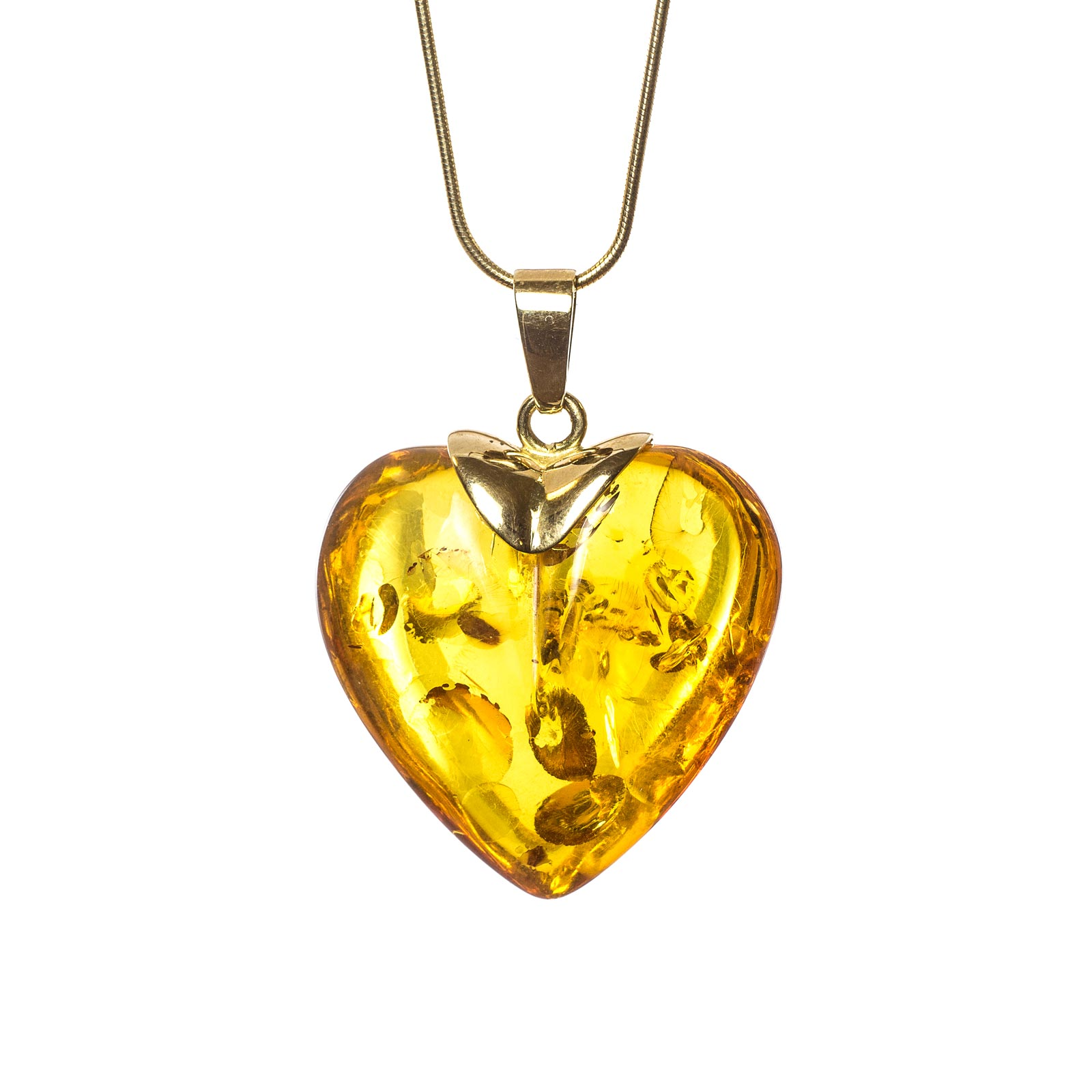 """Natural Baltic Amber Pendant with 14k Gold """"Golden Heart"""""""