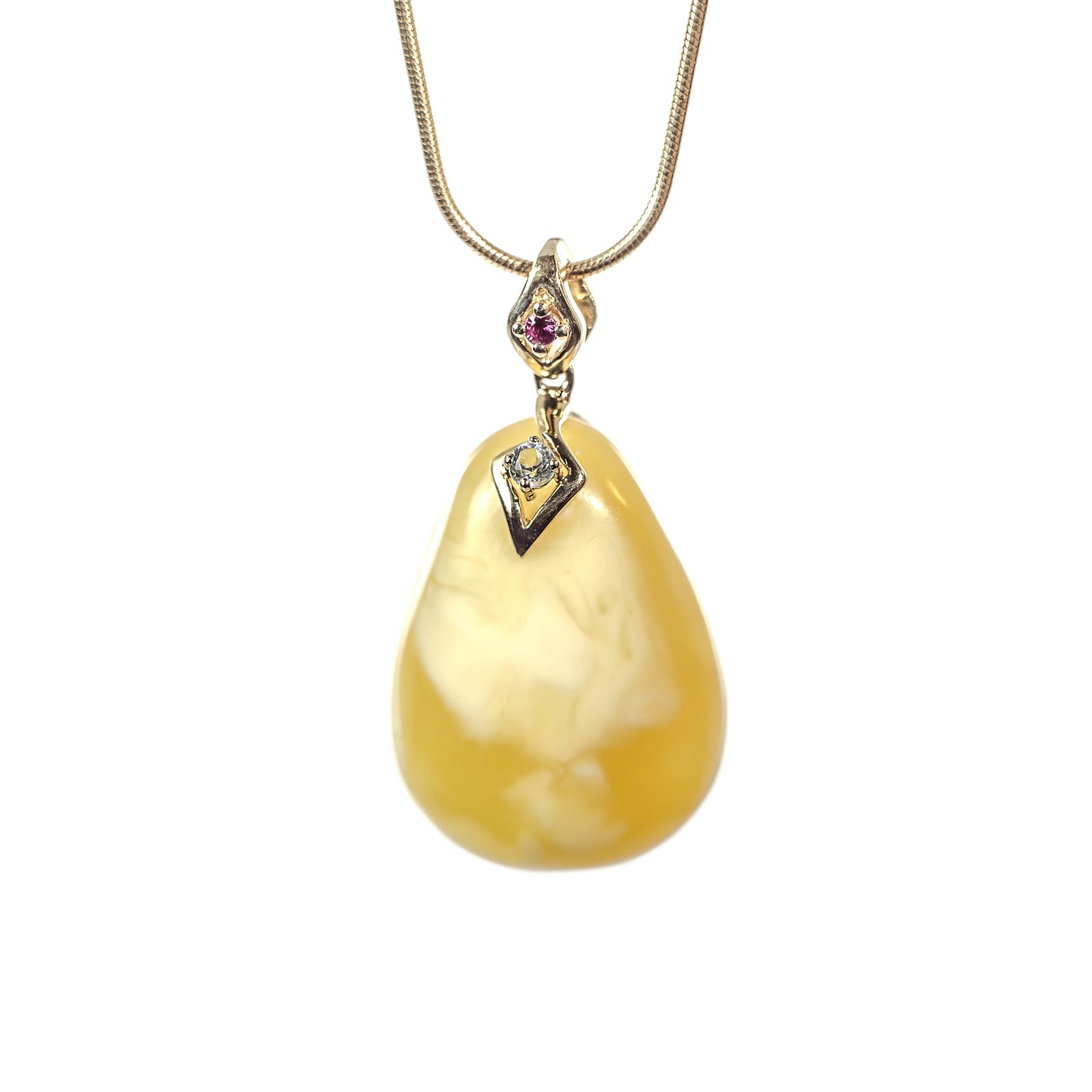 "Natural Baltic Amber Pendant with 14k Gold ""Golden Sky II"""