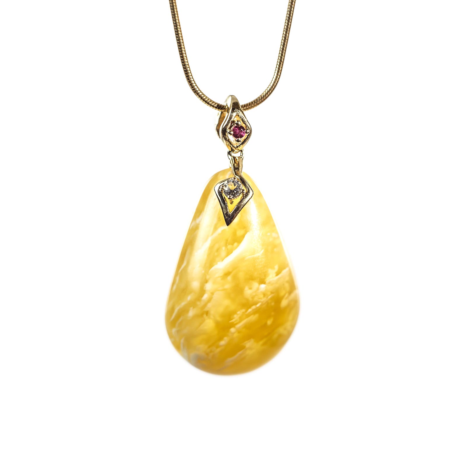 "Natural Baltic Amber Pendant with 14k Gold ""Golden Sky"""