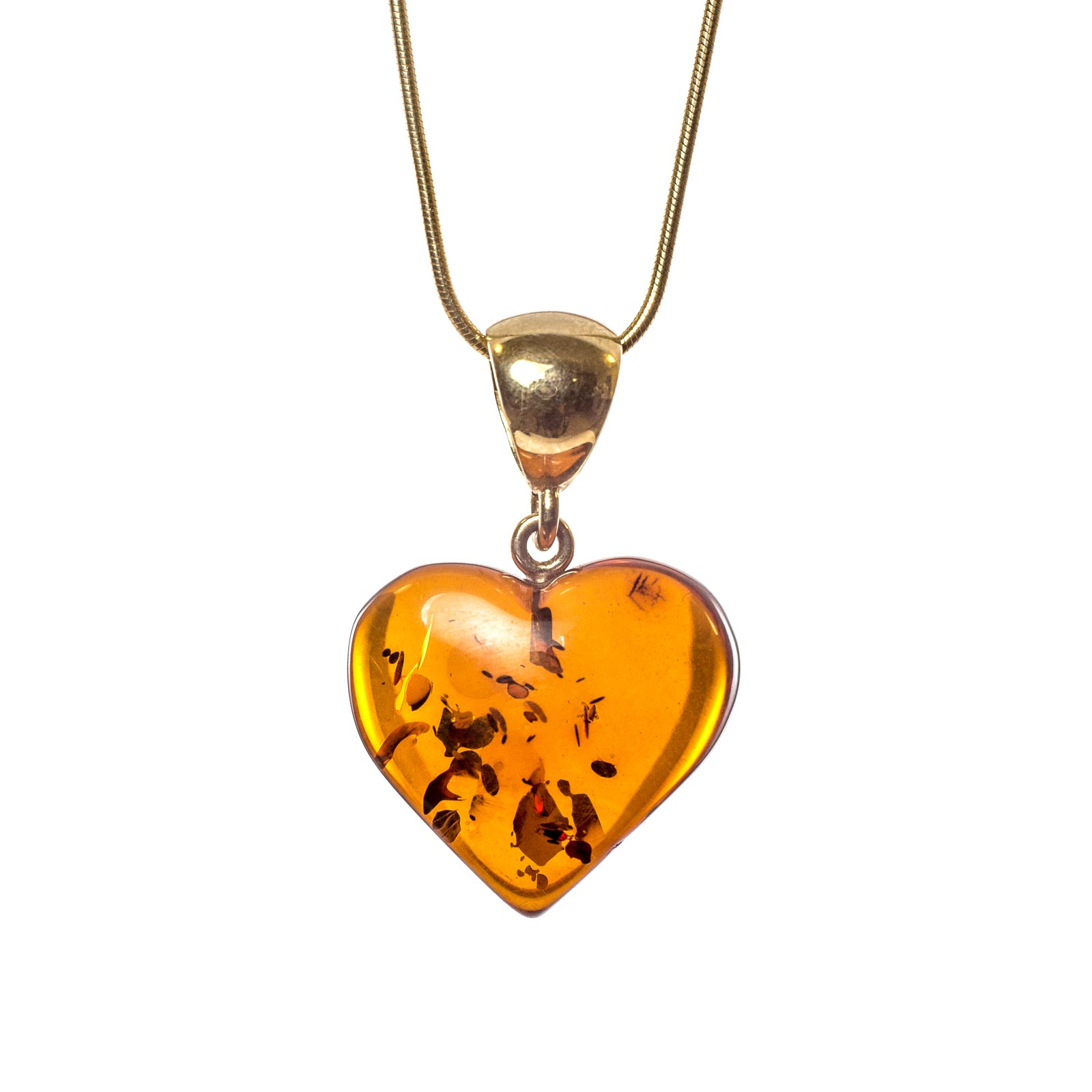 """Natural Baltic Amber Pendant with 14k Gold """"Young Heart"""""""
