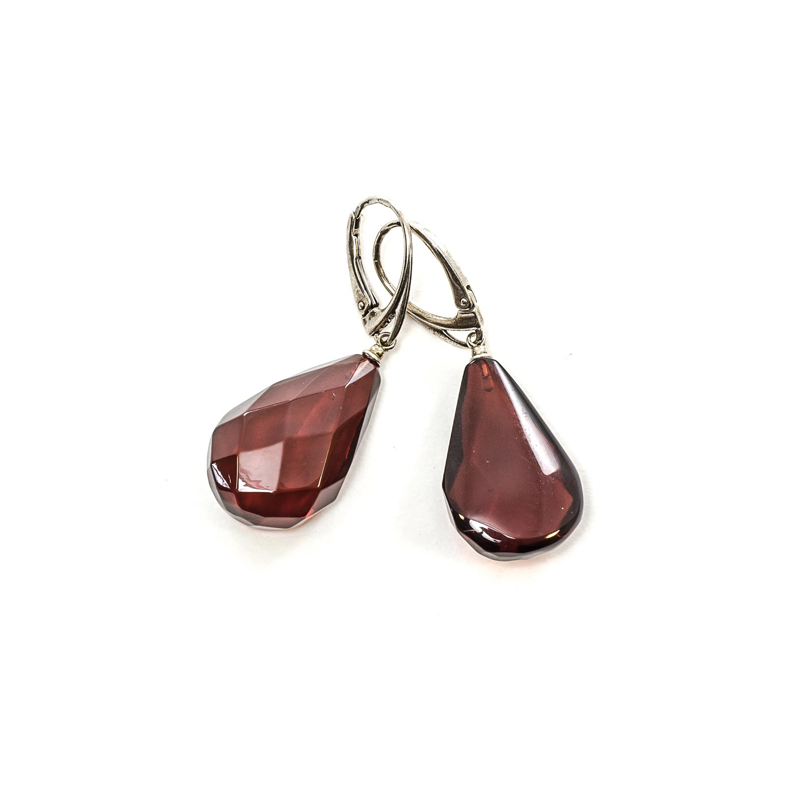 """Silver Earrings with Natural Baltic Amber Stone """"Laurel"""""""