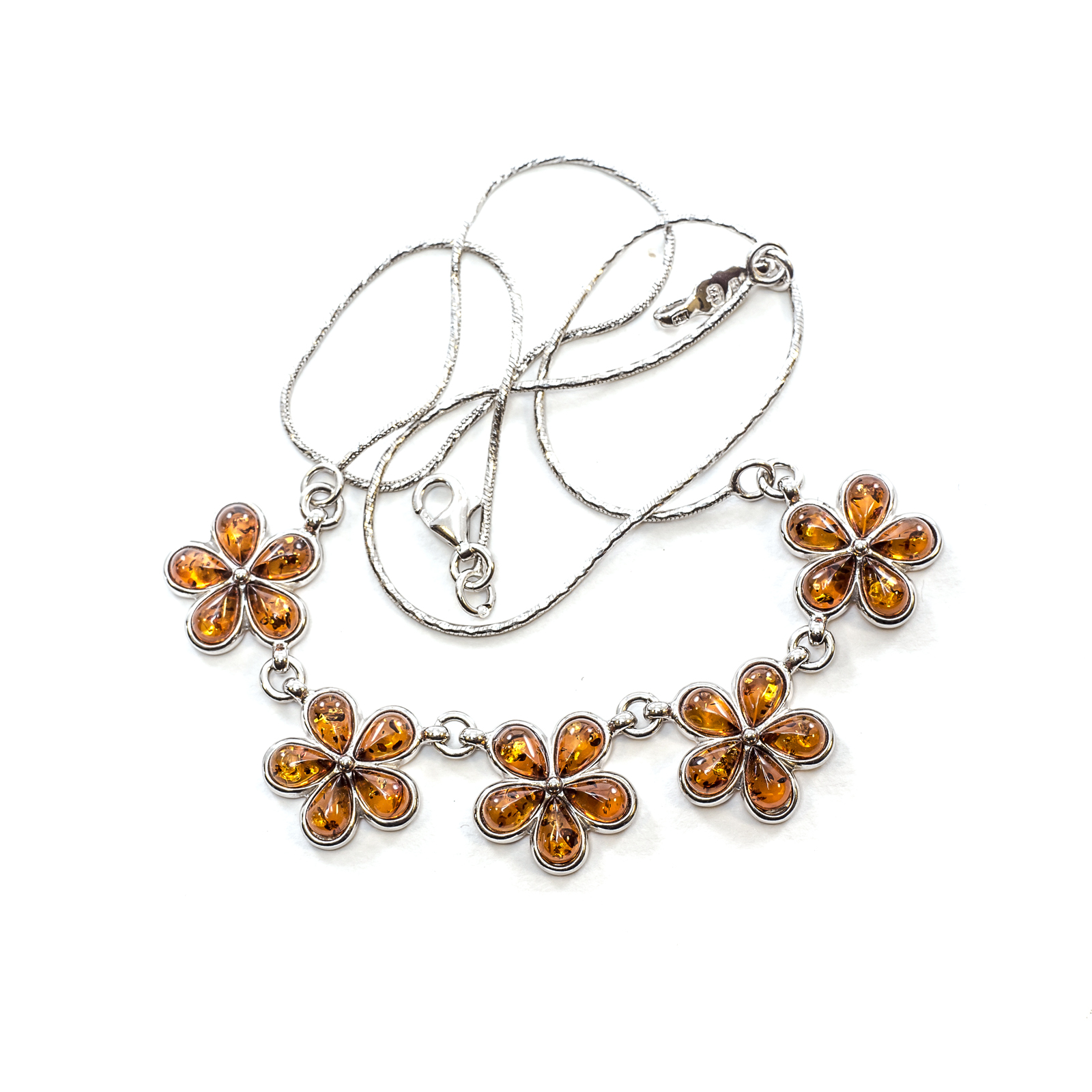 "Silver Necklace with Natural Baltic Amber ""Flower"" Cognac"