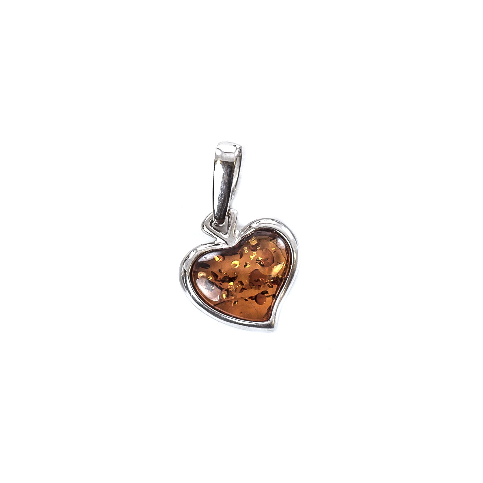 """Silver Pendant with Natural Cognac Baltic Amber """"Little Valentine"""""""