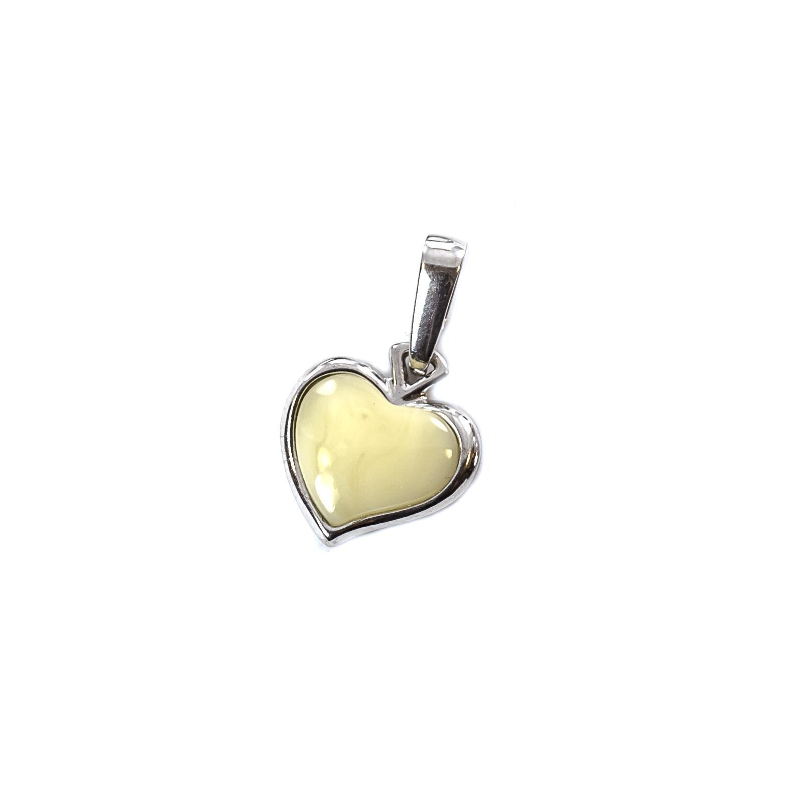 "Silver Pendant with Natural Yellow Baltic Amber ""Little Valentine"""