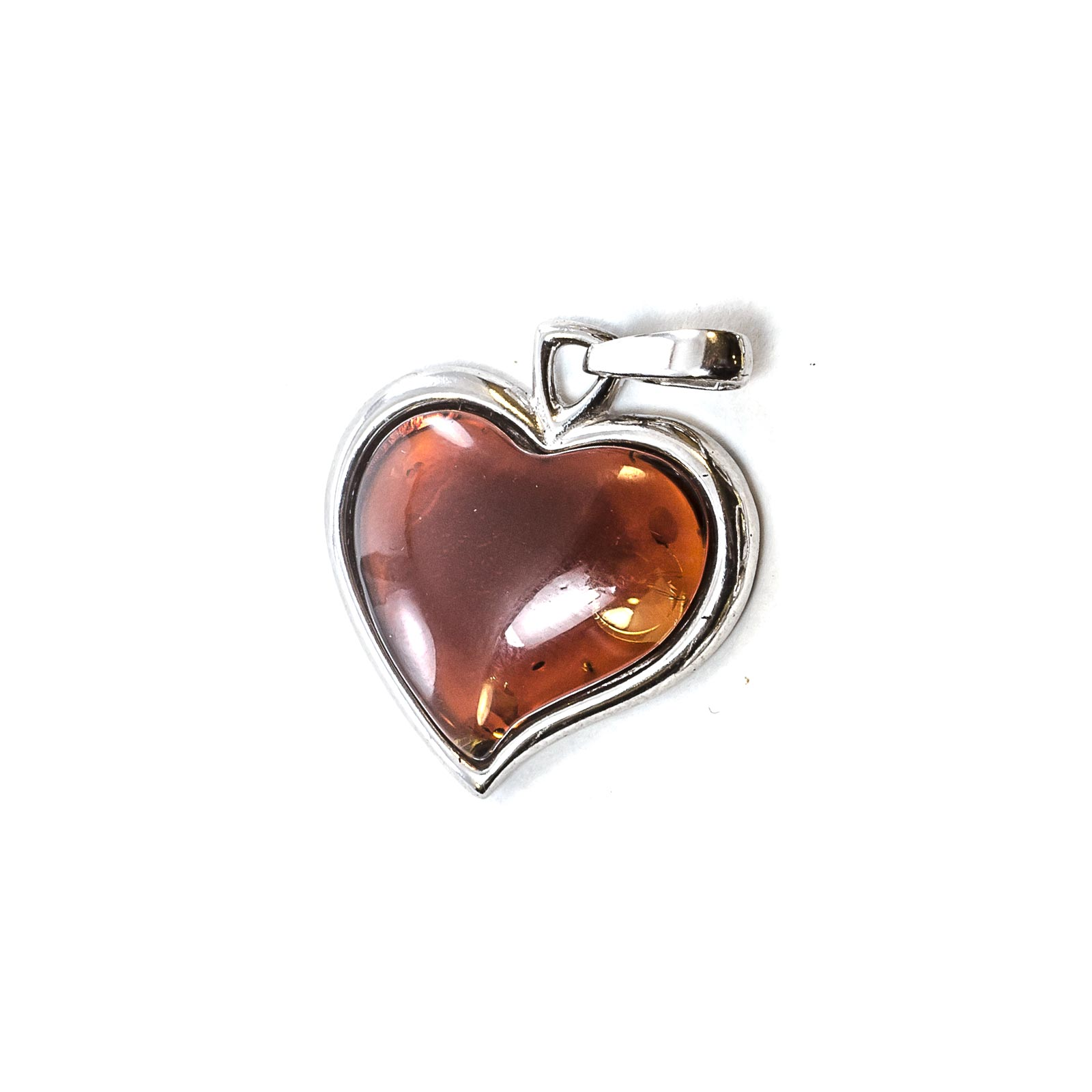 "Silver Pendant with Natural Cherry Baltic Amber ""Valentine"""