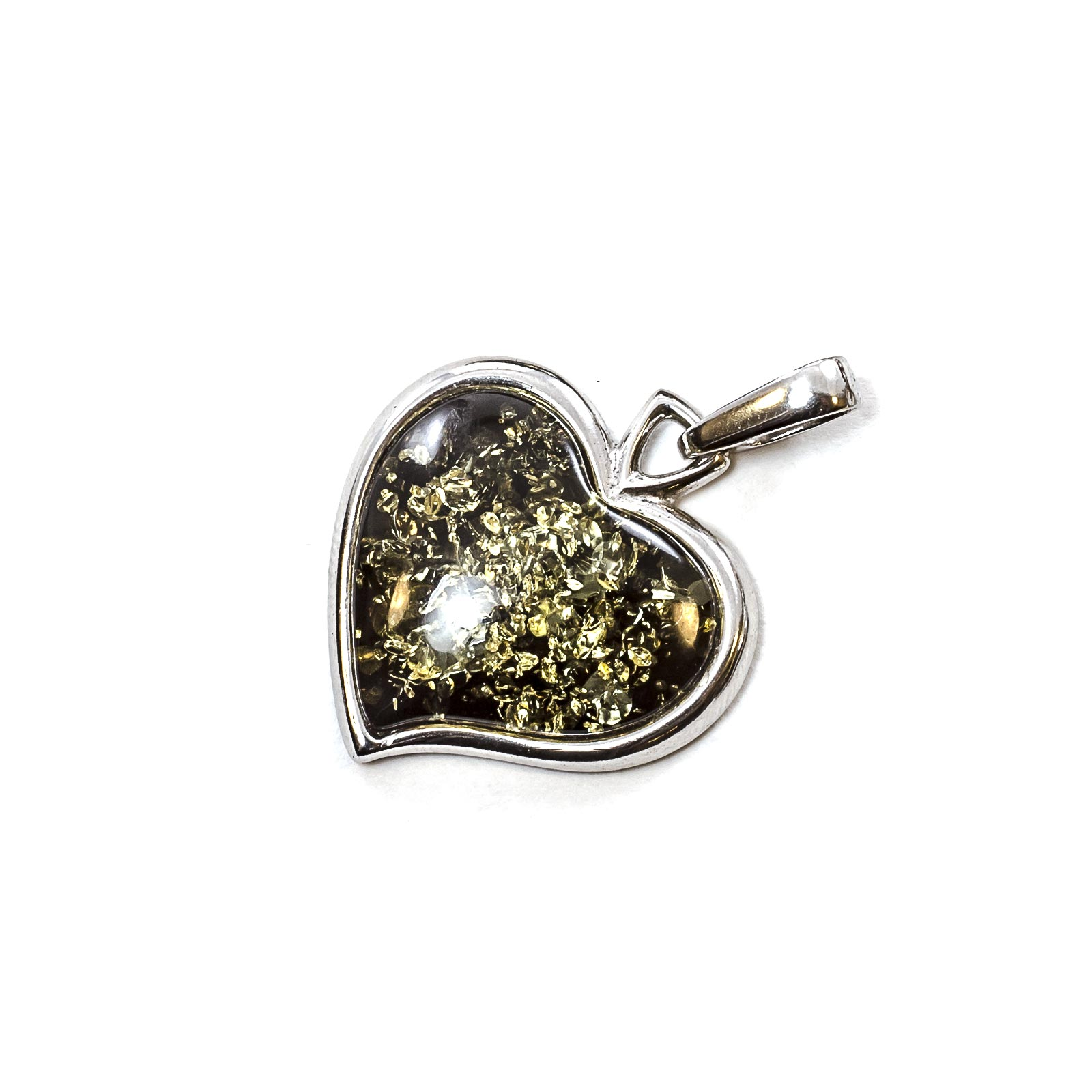 """Silver Pendant with Natural Green Baltic Amber """"Valentine"""""""