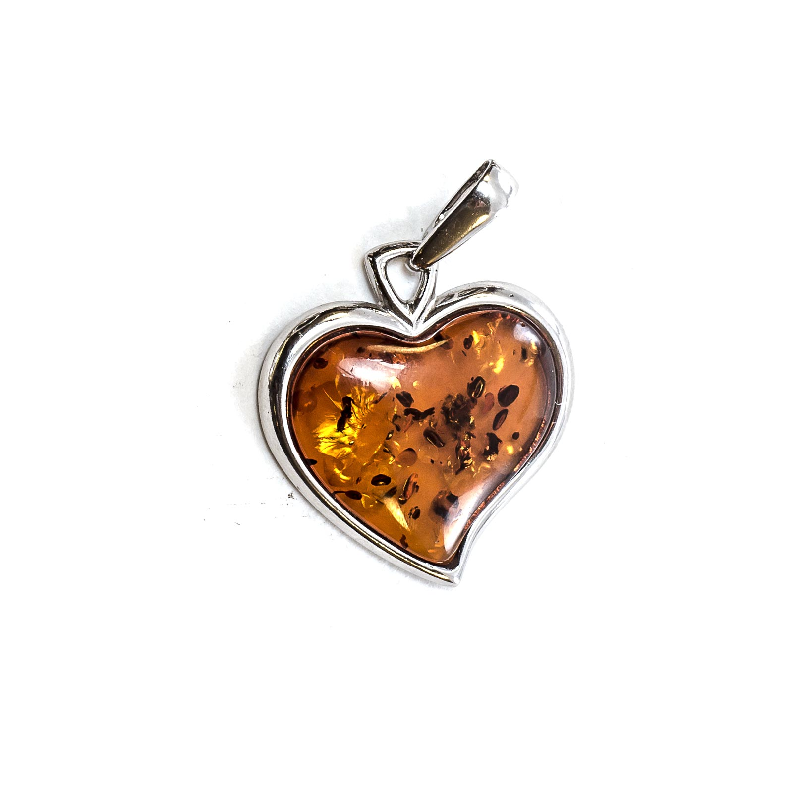 """Silver Pendant with Natural Cognac Baltic Amber """"Valentine"""""""