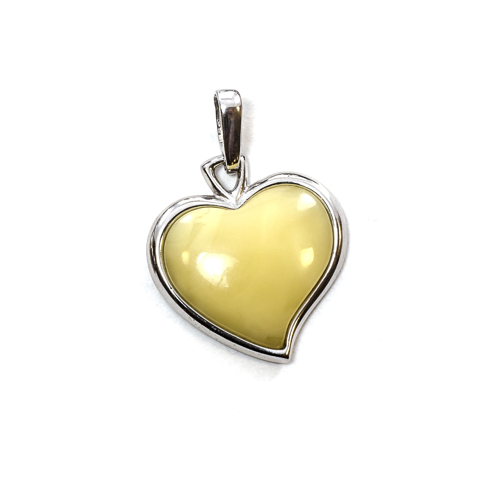 "Silver Pendant with Natural Yellow Baltic Amber ""Valentine"""