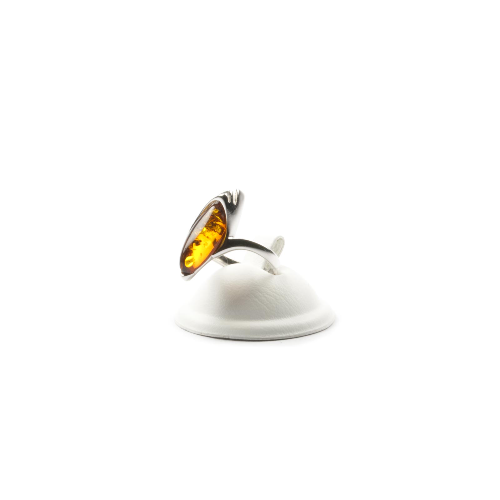 "Silver Ring with Natural Baltic Amber ""Jacqueline"" Cognac"