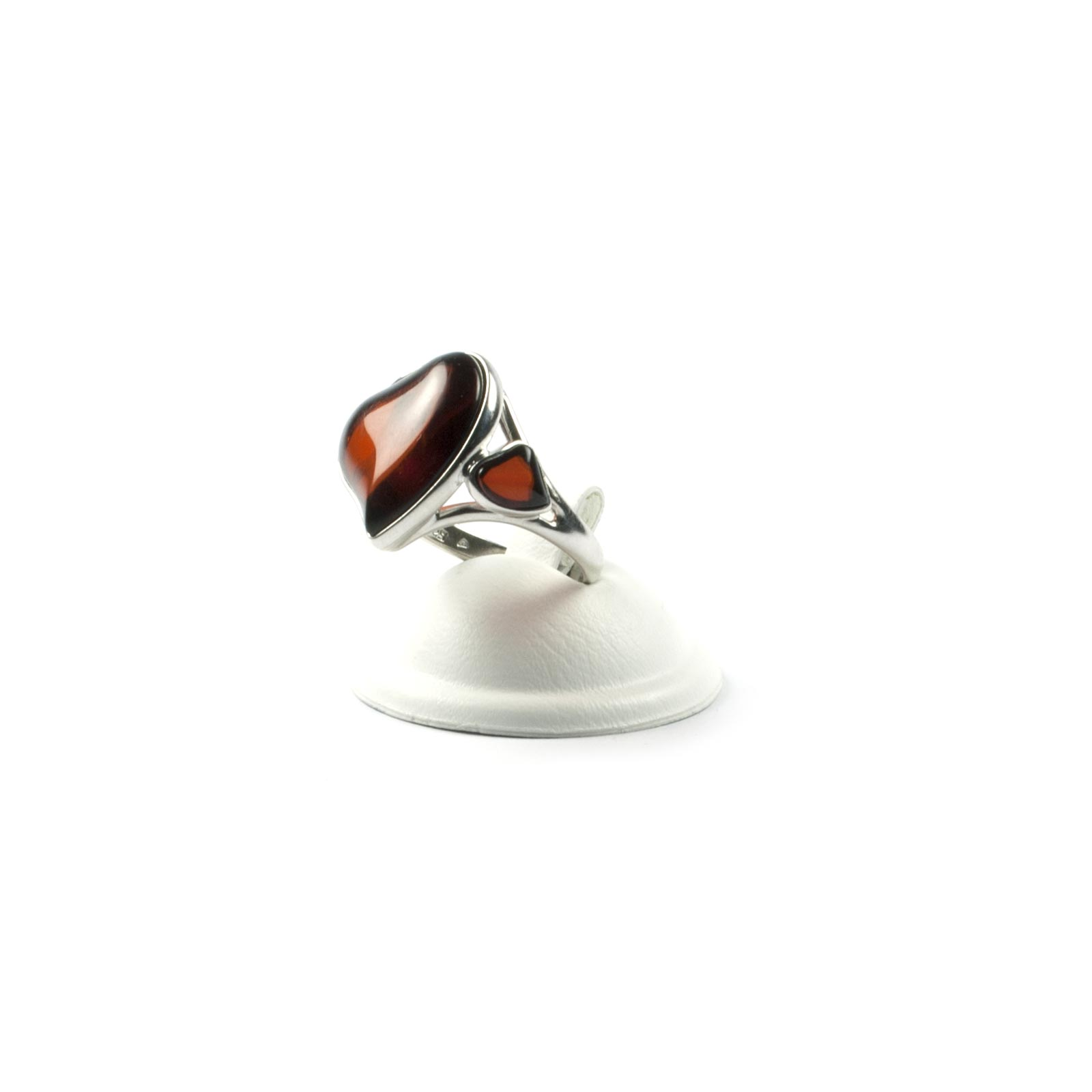 """Silver Ring with Natural Baltic Amber """"Two Hearts"""""""