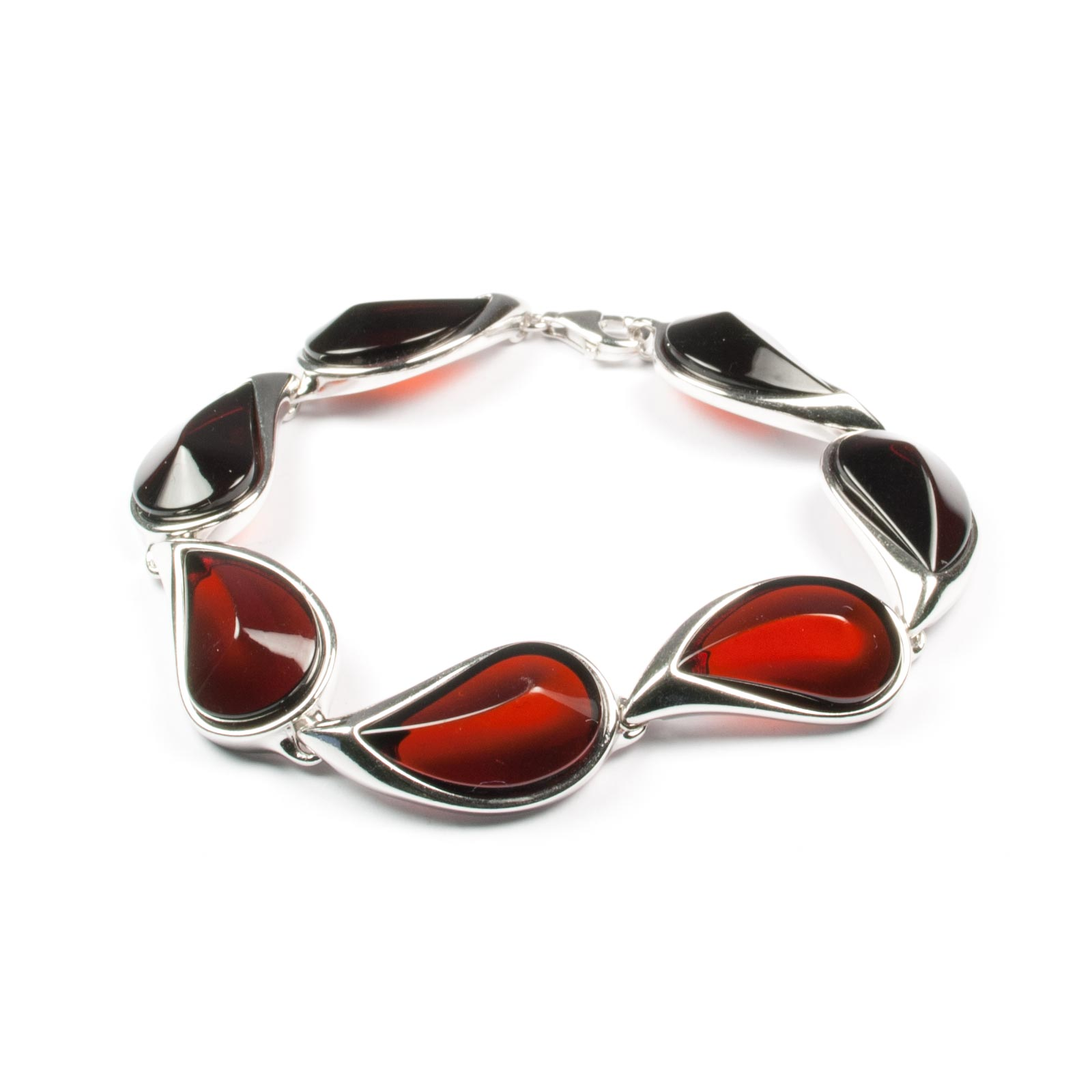 "Sterling Silver Bracelet with Natural Baltic Amber ""Venera II"" Cherry"