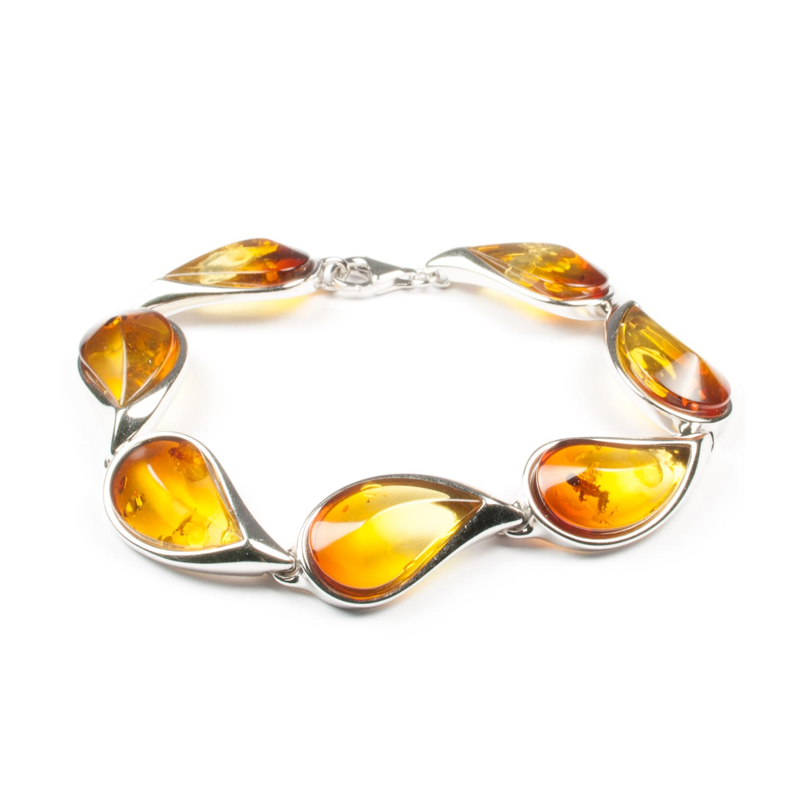 "Silver Bracelet with Natural Baltic Amber ""Venera II"" Gradient"