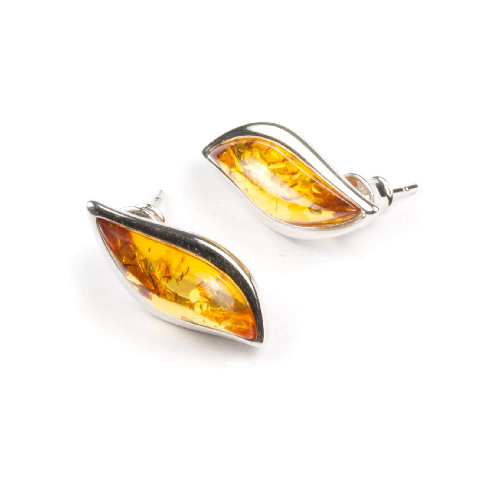 """Silver Earrings with Natural Baltic Amber """"Kecha"""" Cognac"""