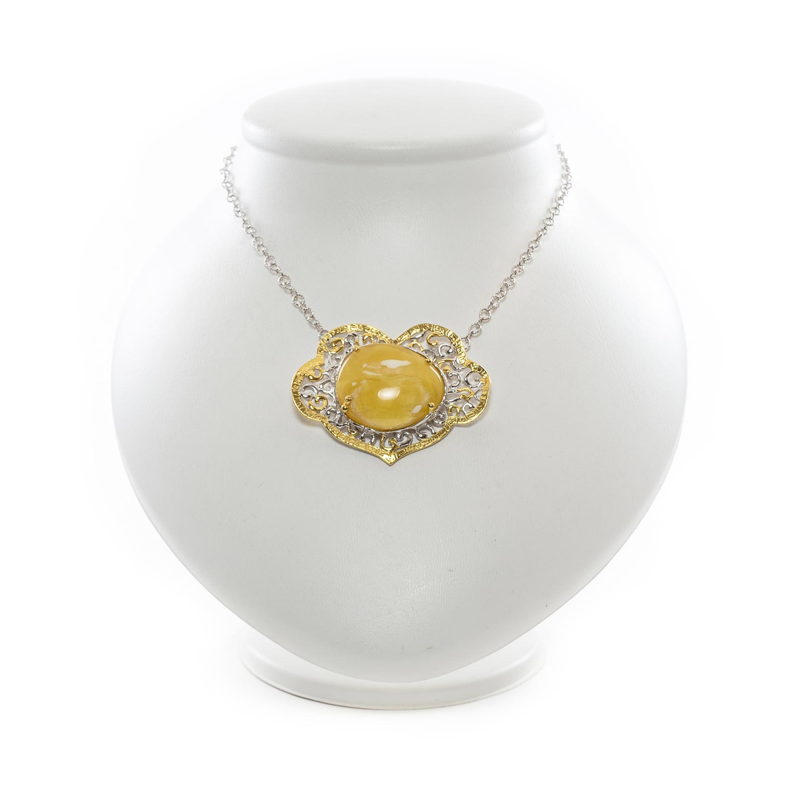 """Silver Necklace with Natural Baltic Amber """"Mango"""""""