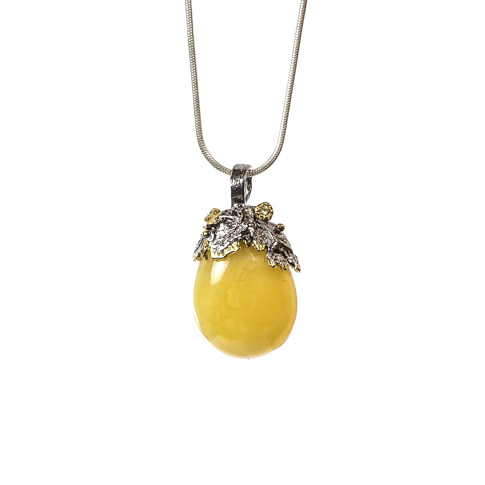 """Silver Pendant with Natural Baltic Amber """"Axestone"""""""
