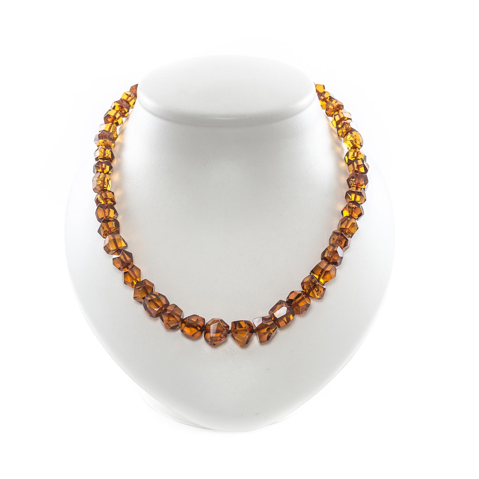 """Natural Baltic Amber Necklace with Faceted Beads """"Relax"""""""