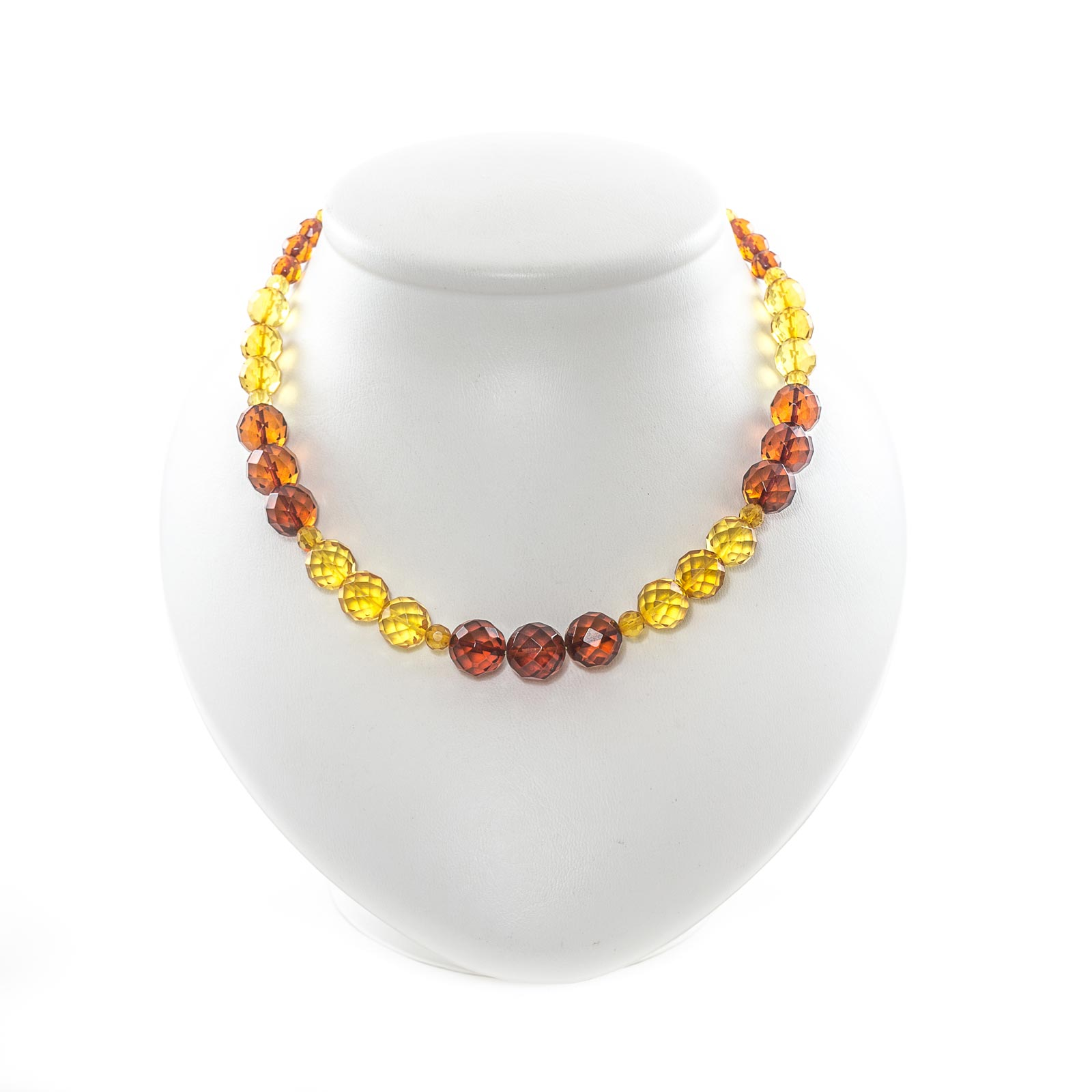 """Natural Baltic Amber Necklace with Faceted Beads """"Paradise"""""""