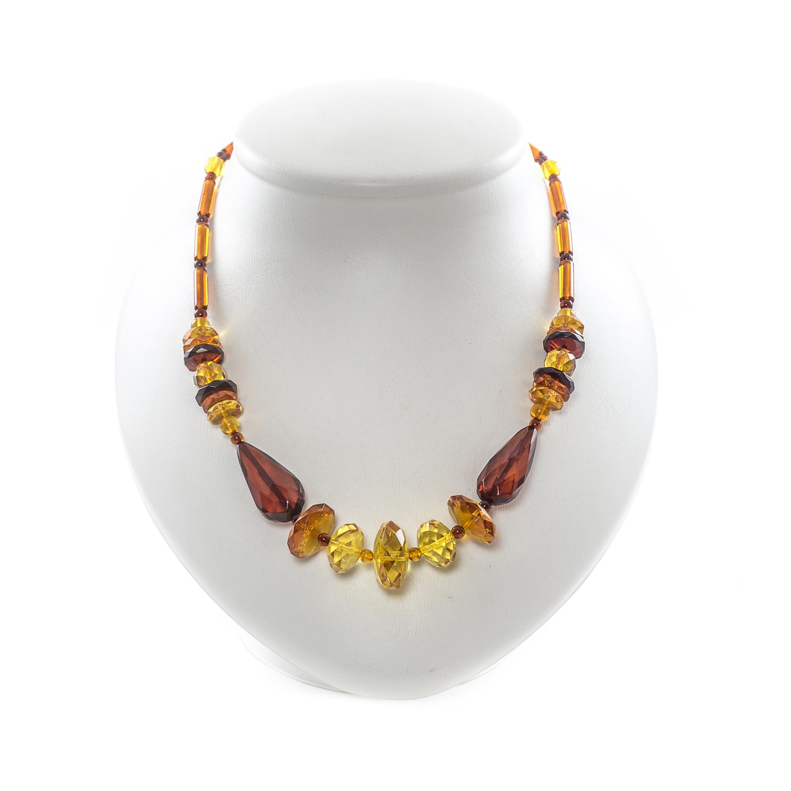 "Natural Baltic Amber Necklace with Faceted Beads ""Rapunzel"""