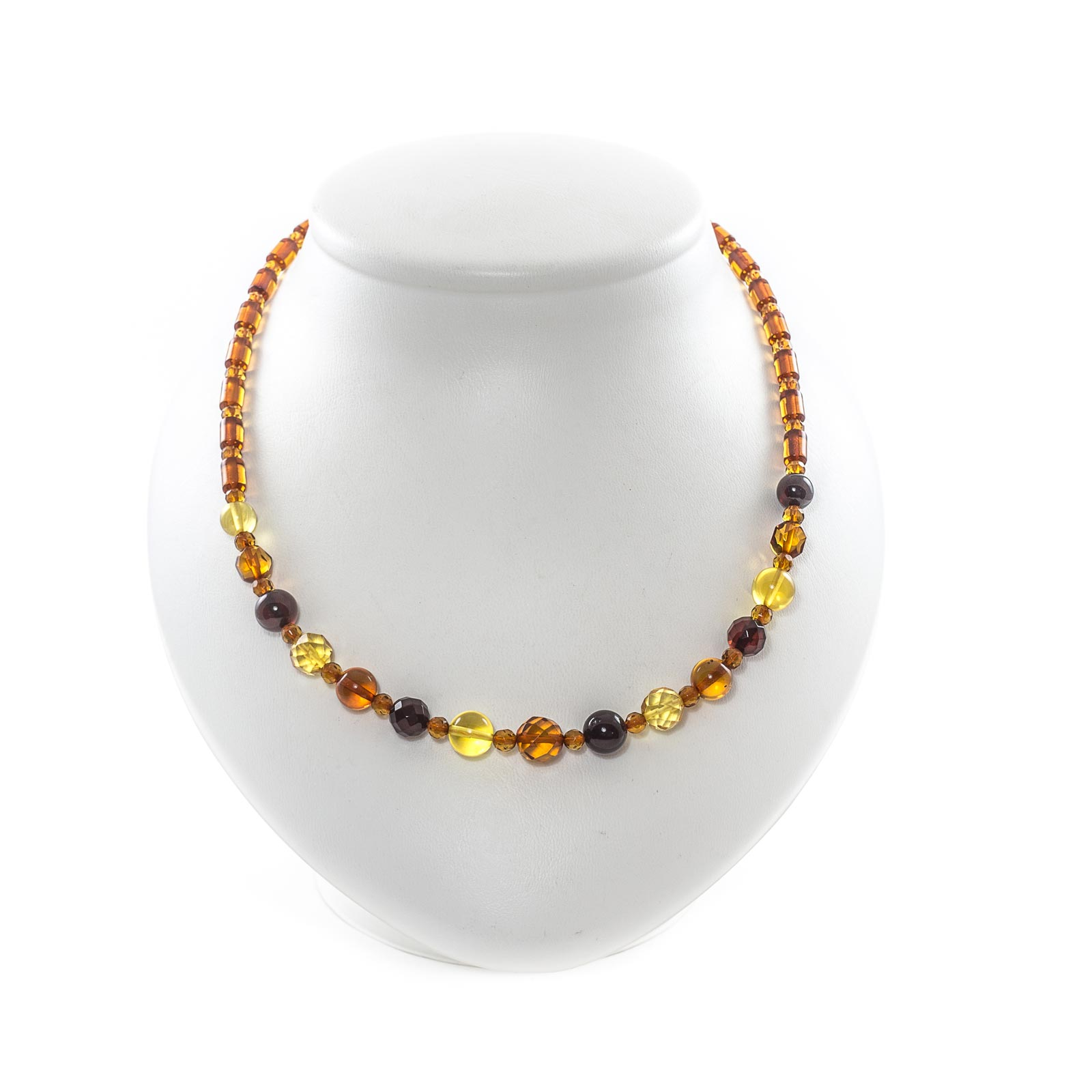 """Natural Baltic Amber Necklace with Faceted Beads """"Shades"""""""