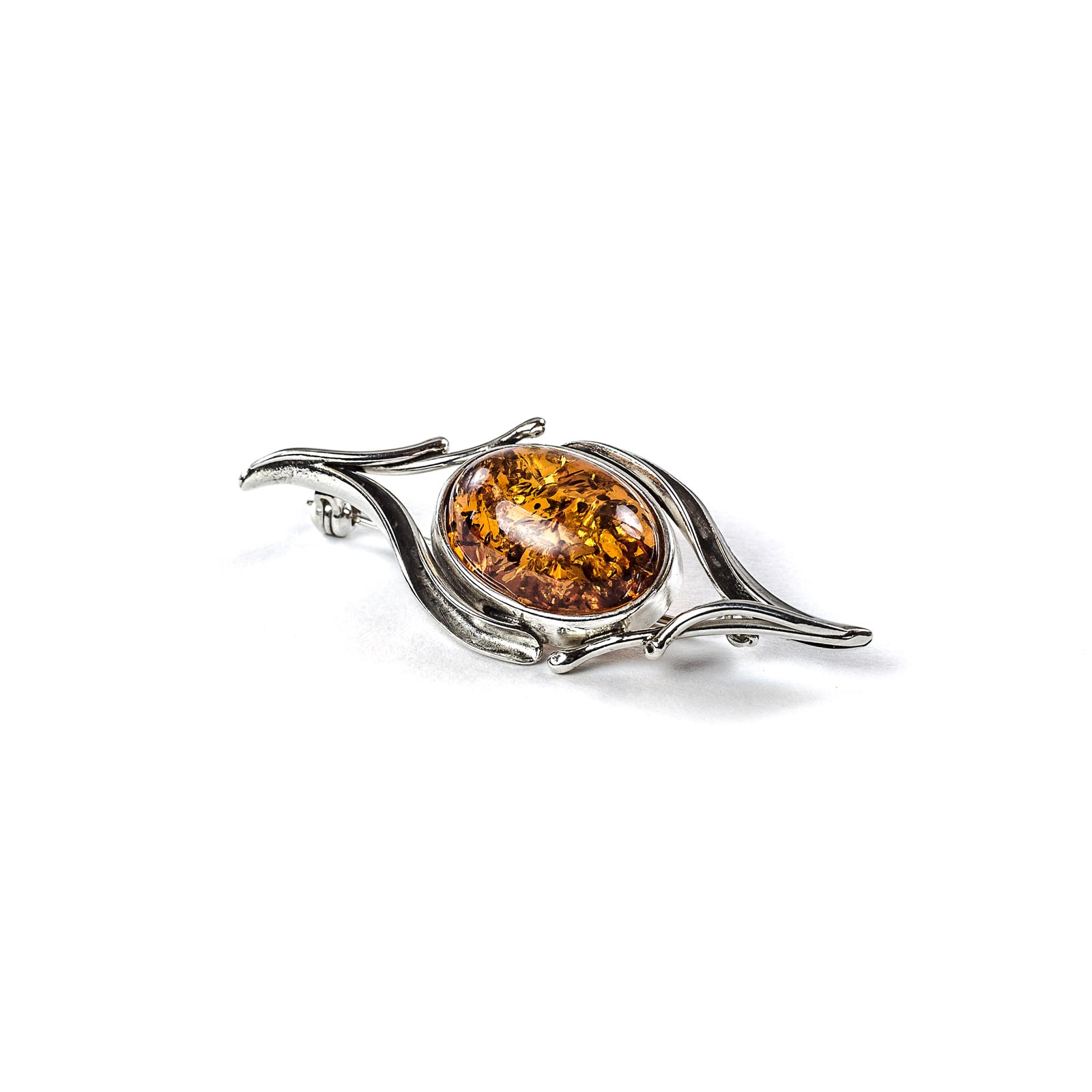 "Silver Brooch with Natural Baltic Amber ""Stargaze"""