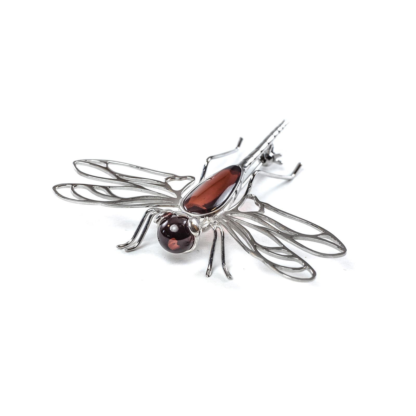 "Silver Brooch with Natural Baltic Amber ""Cherry Dragonfly"""