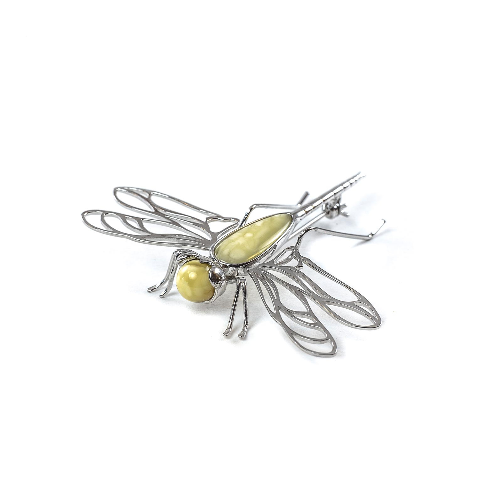 "Silver Brooch with Natural Baltic Amber ""Yellow Dragonfly"""