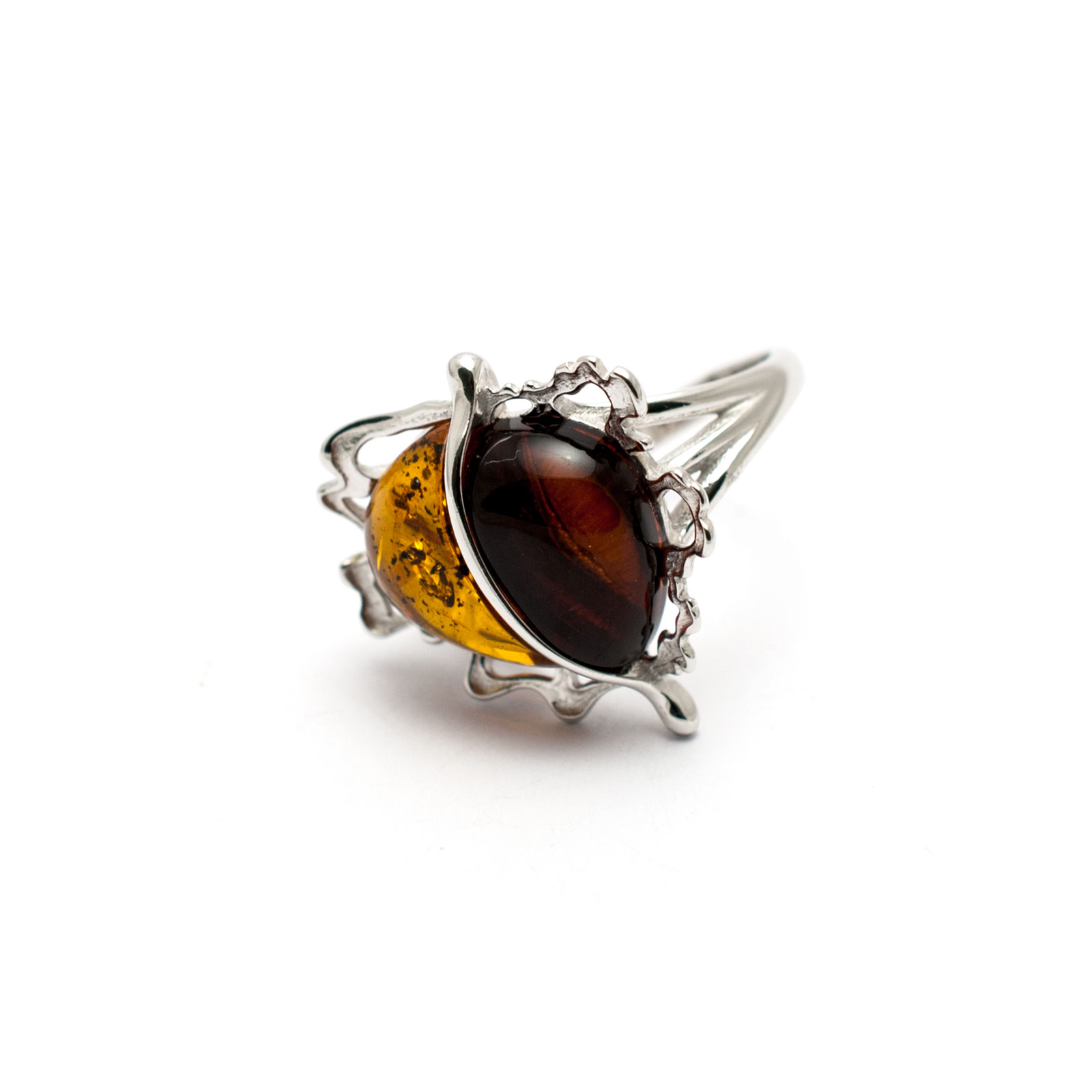 """Vintage Silver Ring with Two Amber Stones """"Apple"""""""