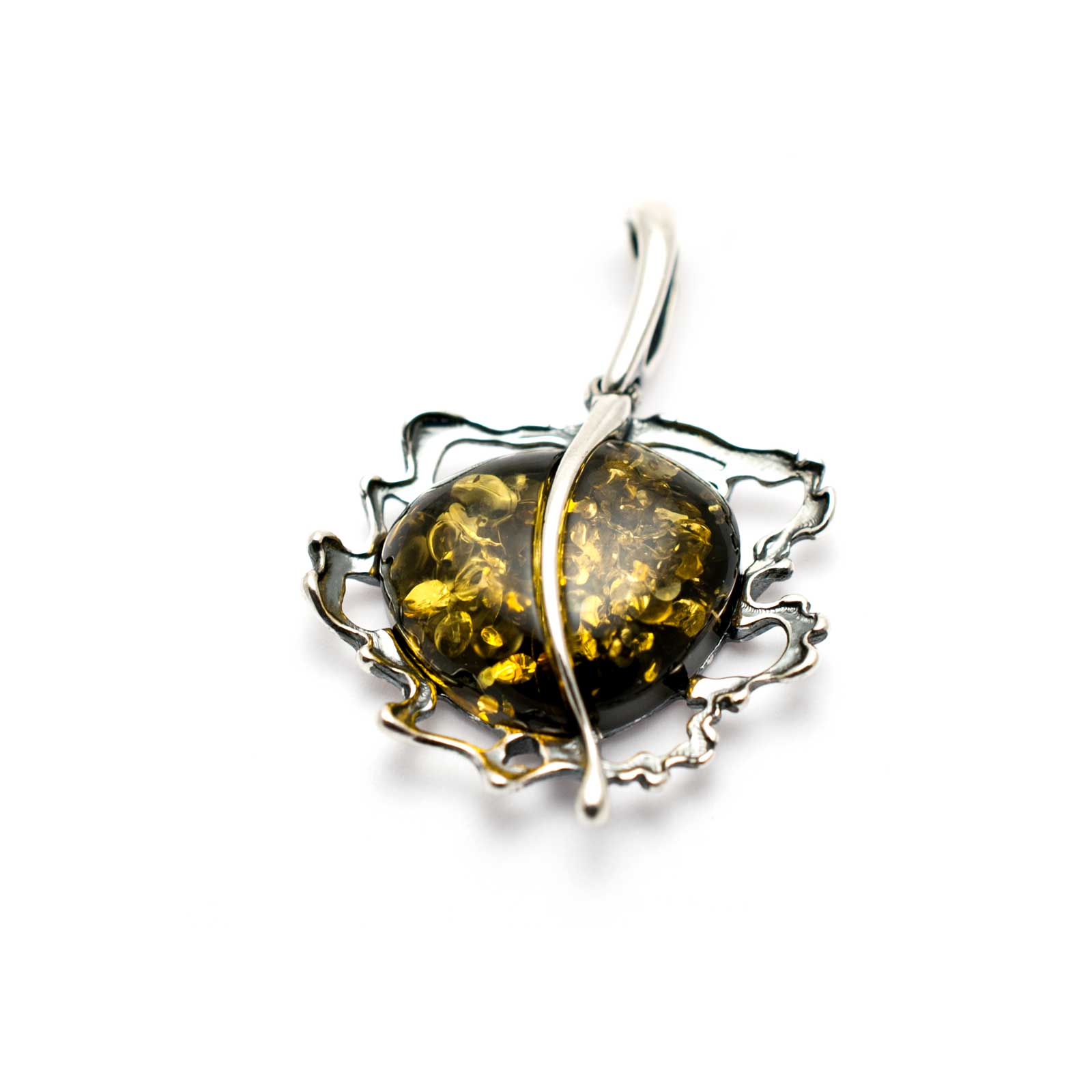 "Vintage Silver Pendant with Green Amber ""Apple"""