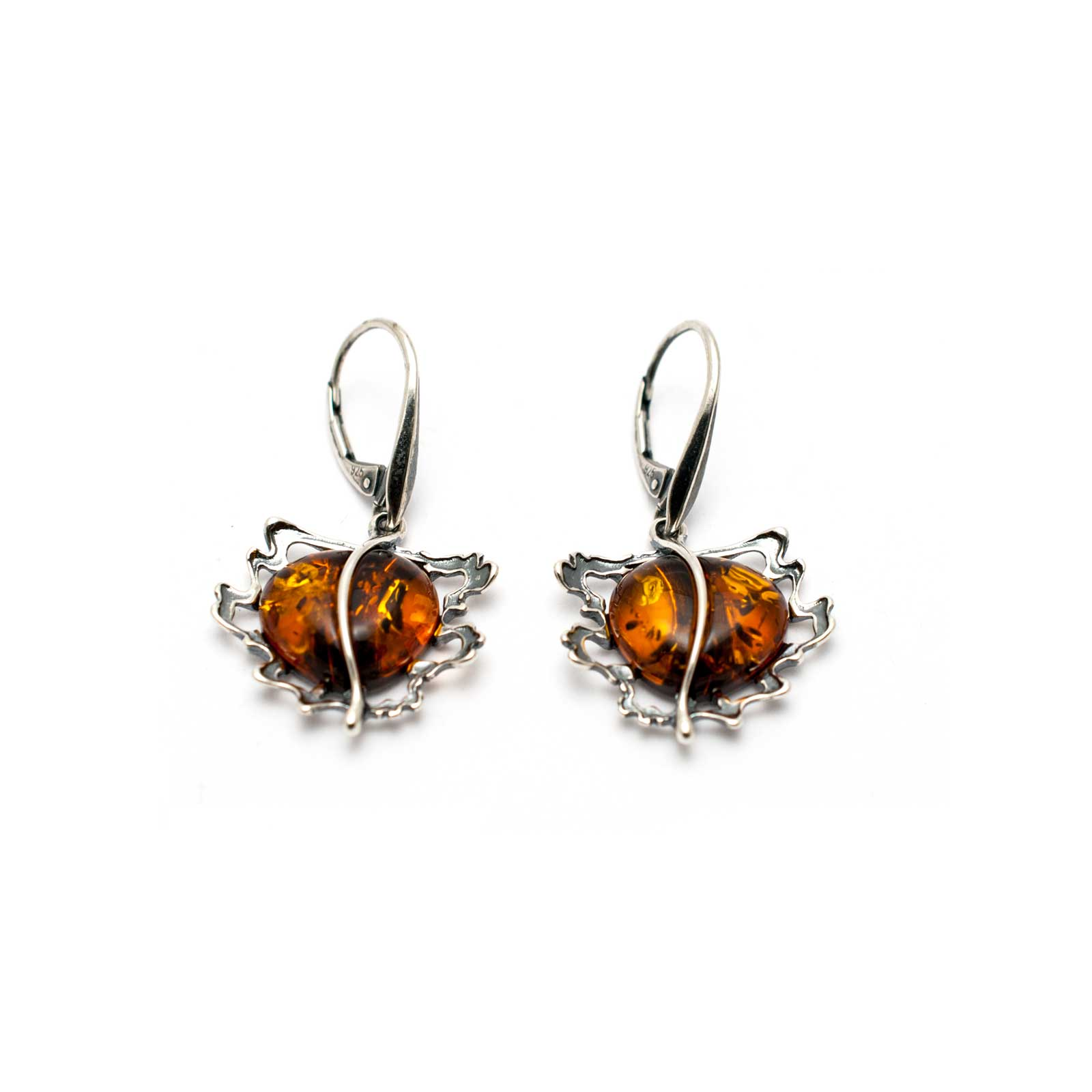 "Vintage Silver Earrings with Cognac Amber ""Apple"""