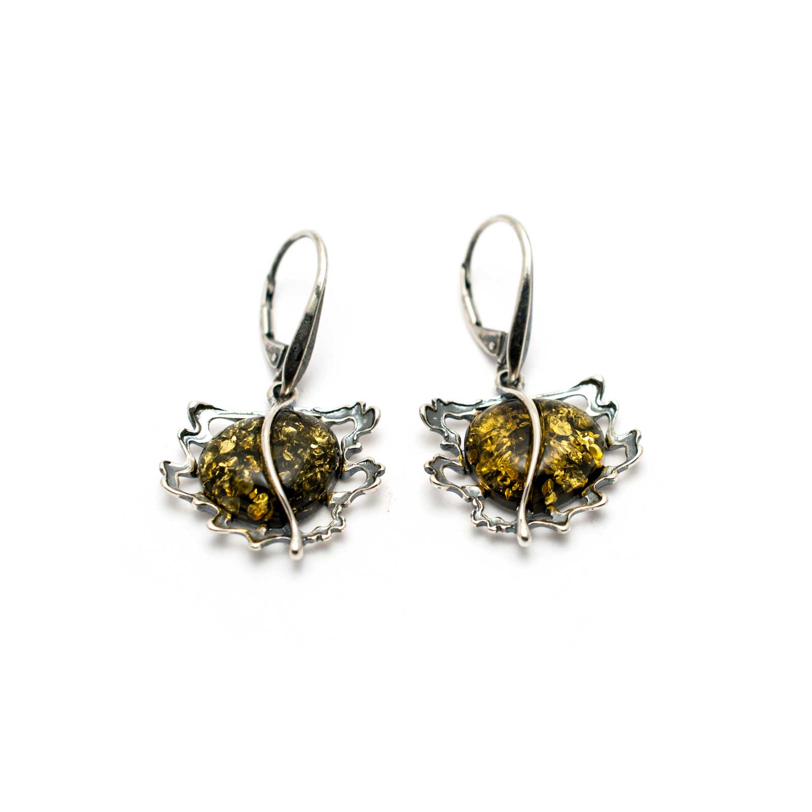 "Vintage Silver Earrings with Sparkling Green Amber ""Apple"""