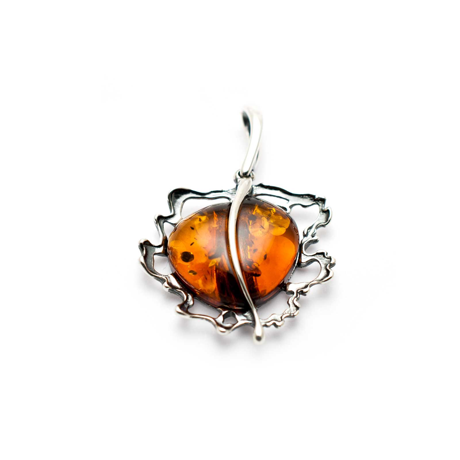 "Vintage Silver Pendant with Cognac Amber ""Apple"""