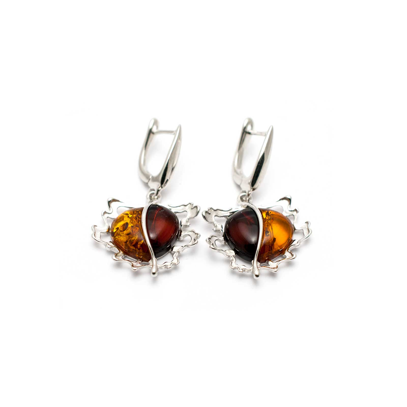 "Vintage Silver Earrings with Amber ""Apple"""