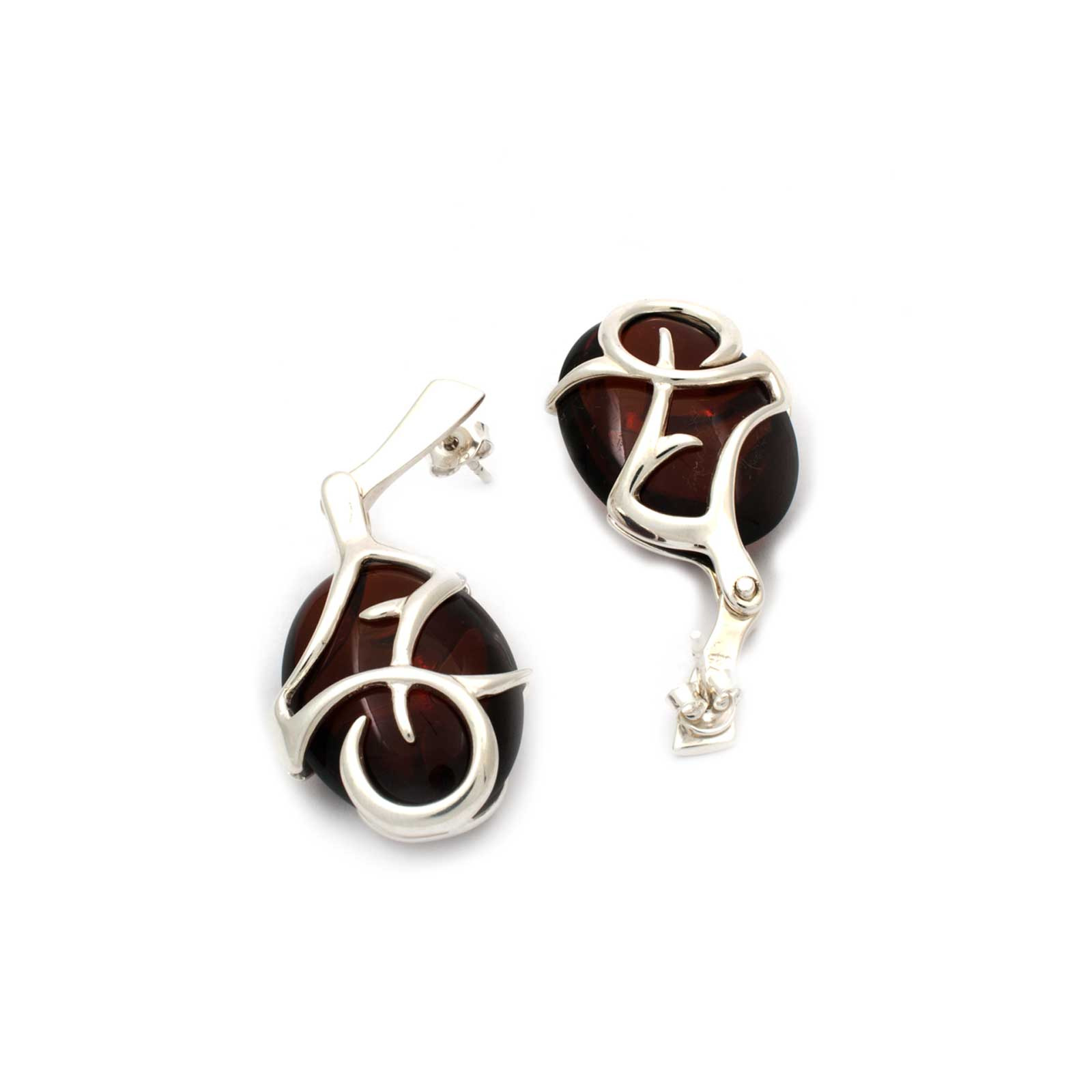 Azure Earrings in Sterling Silver and Cherry Amber