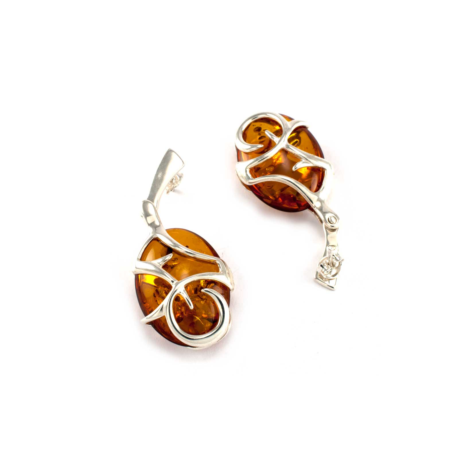 Azure Earrings in Sterling Silver and Cognac Amber