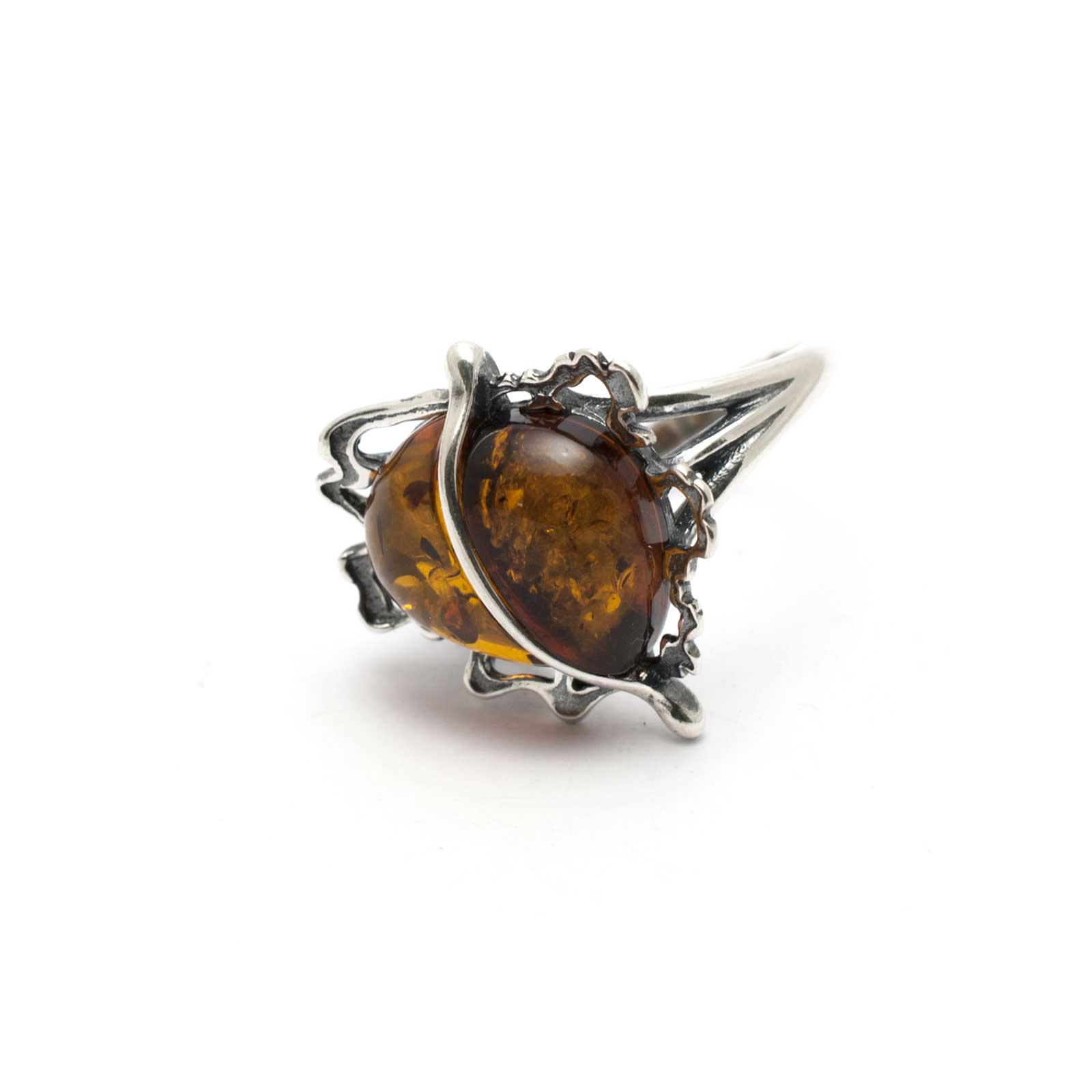 "Vintage Silver Ring with Cognac Amber ""Apple"""