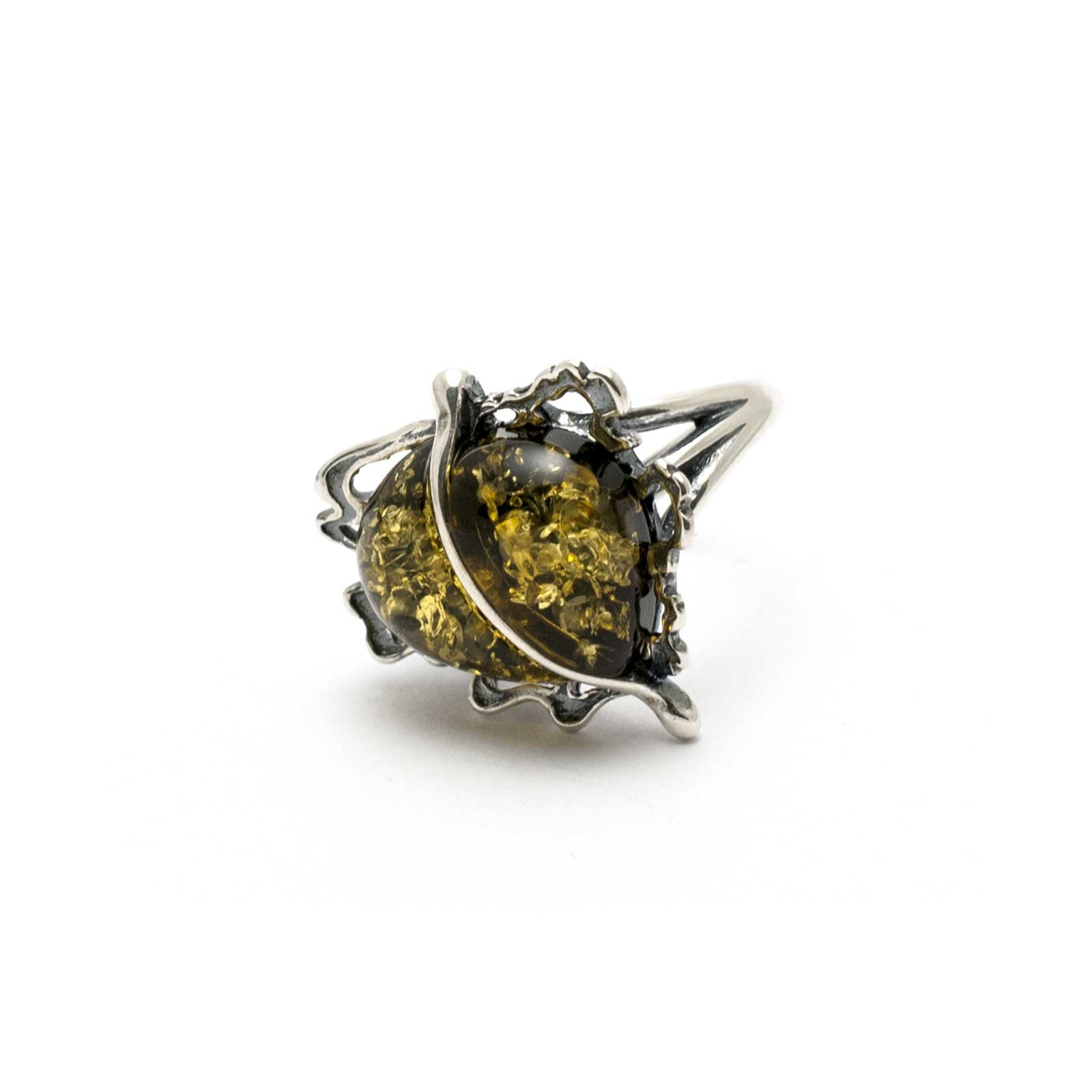 """Vintage Silver Ring with Green Sparkling Amber Stone """"Apple"""""""