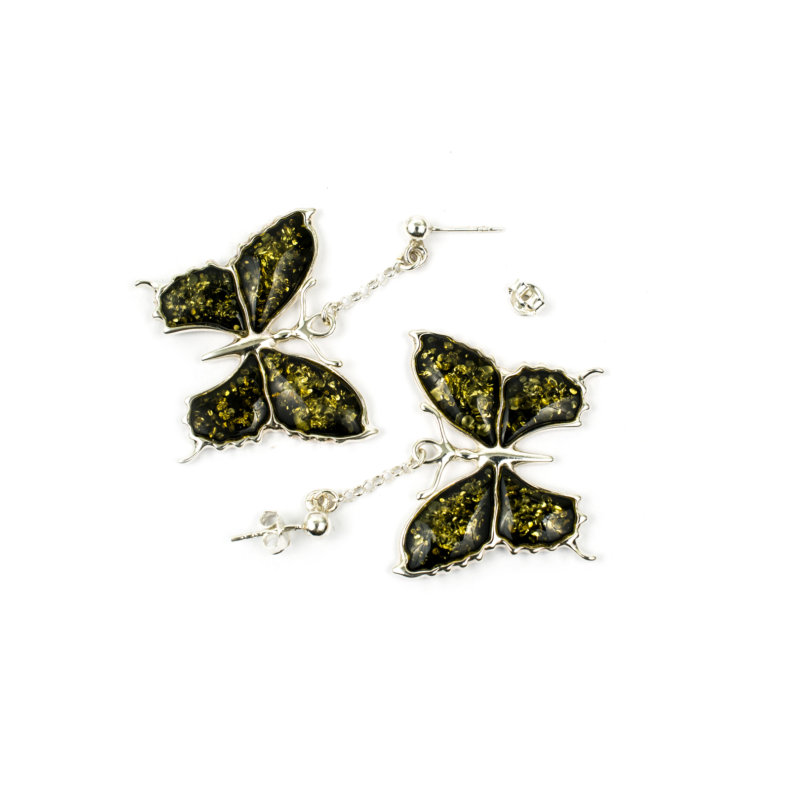 Amazing Butterfly Silver Earrings with Sparkling Green Amber