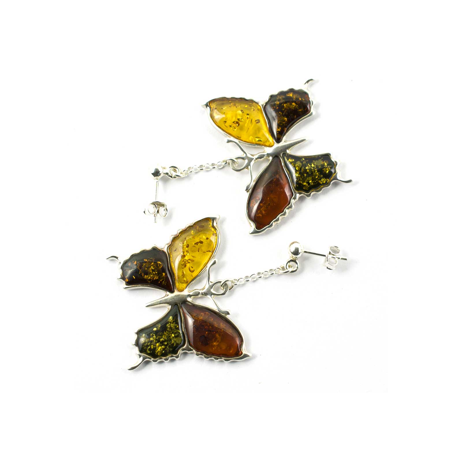 Silver Butterfly Earrings with Multi Color Amber Stones
