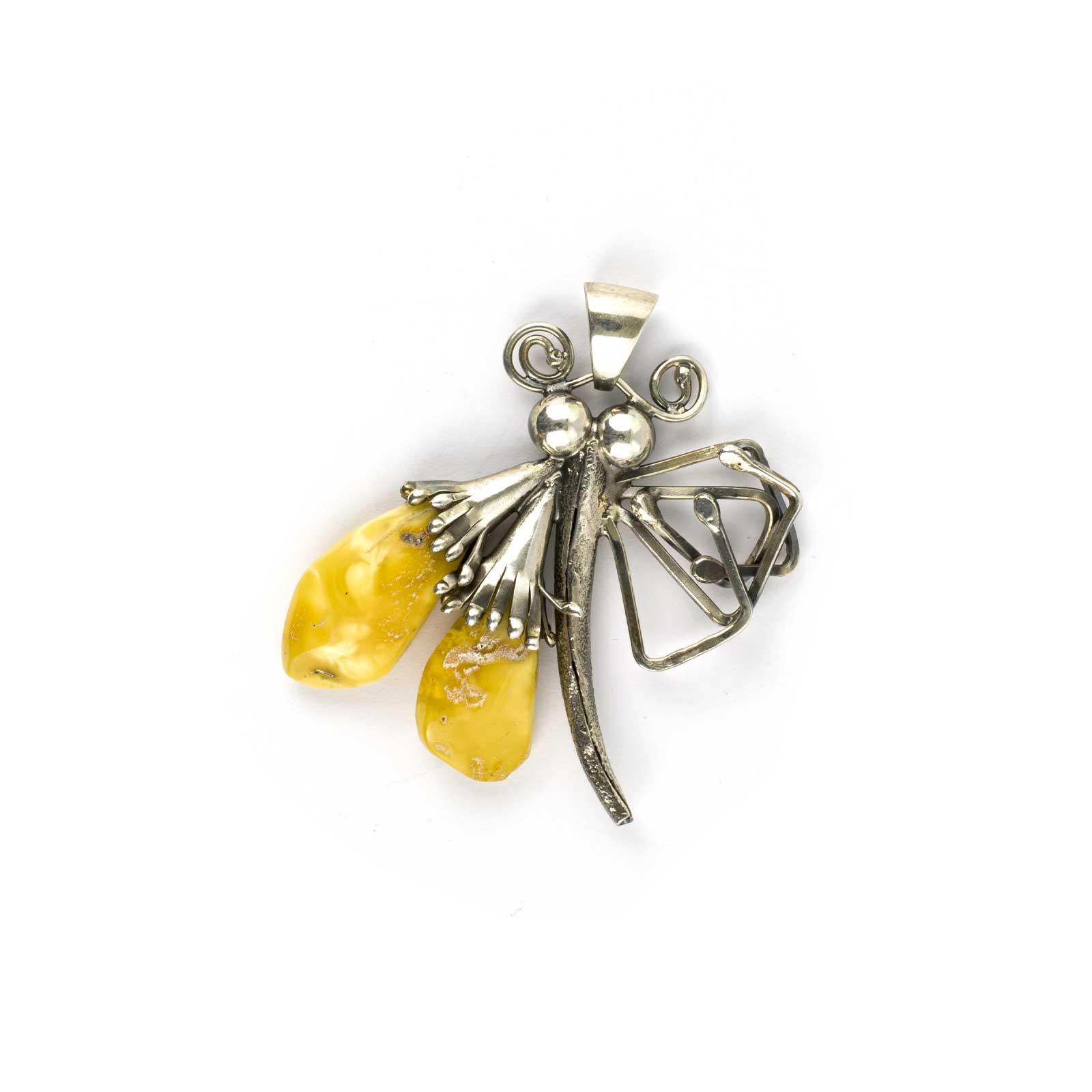 "Vintage Amber Pendant ""Dragonfly"""
