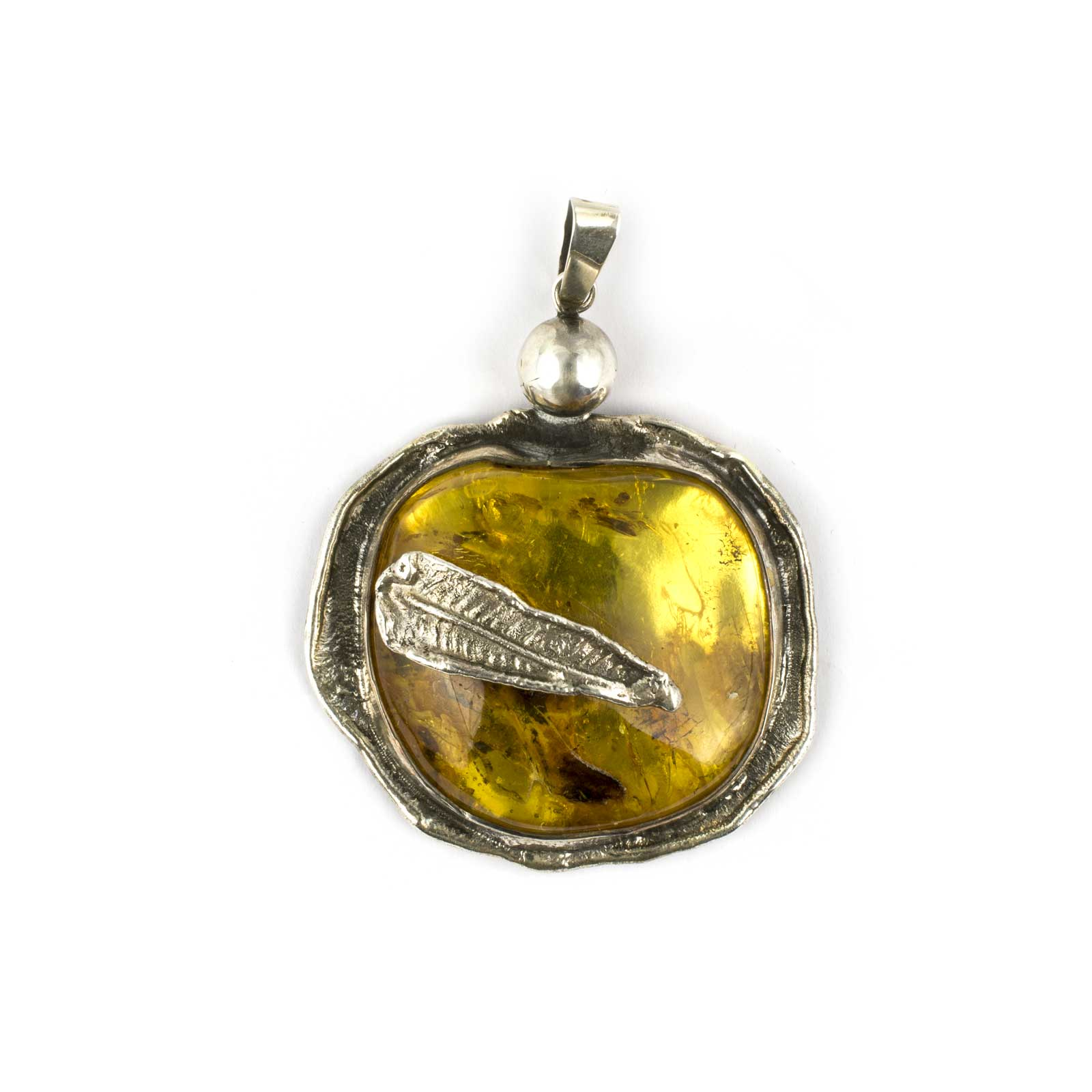 """Vintage Amber Pendant """"Medallion"""" with Insect Wings Inclusions"""