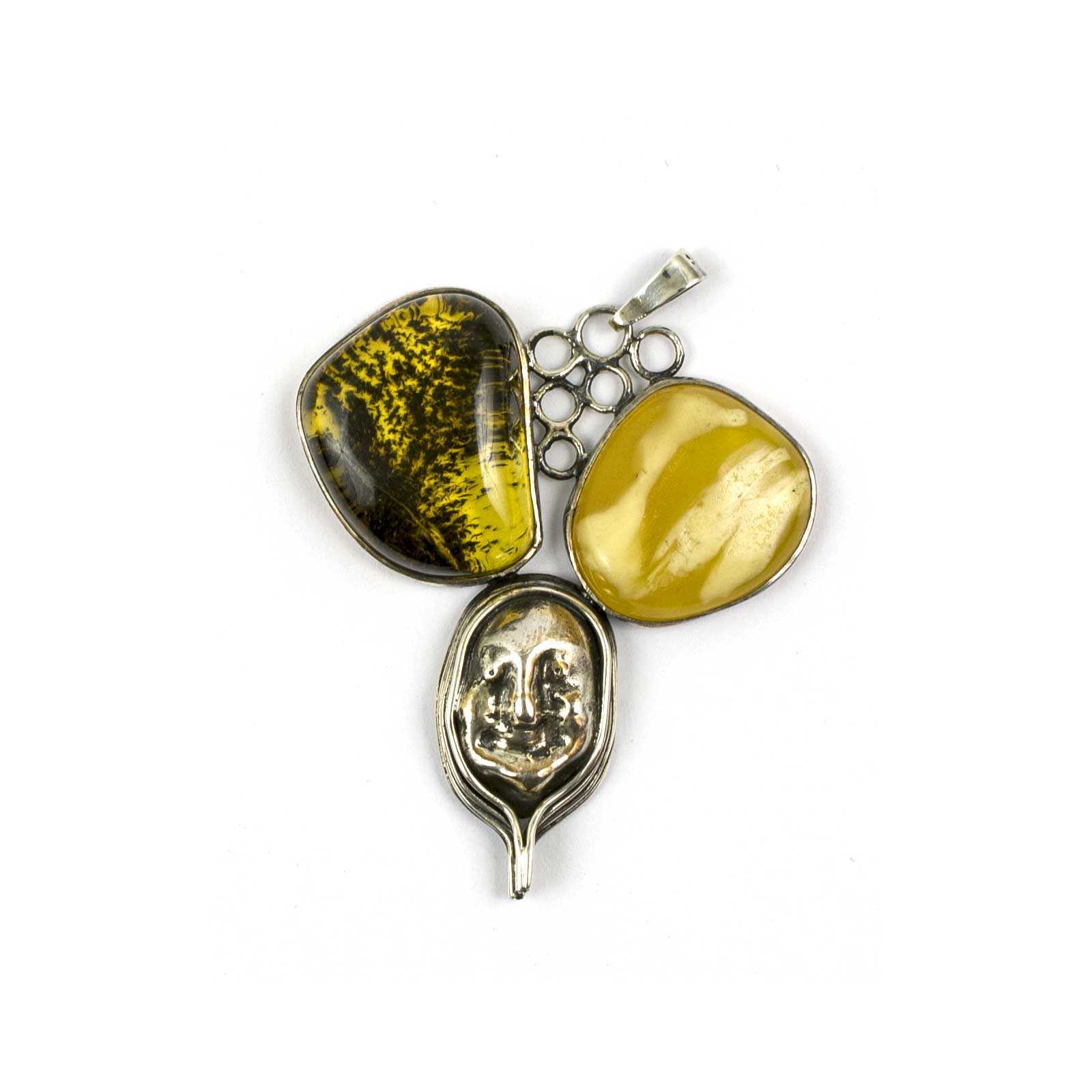 """Vintage Silver Pendant with Two Amber Stones """"Trio"""""""