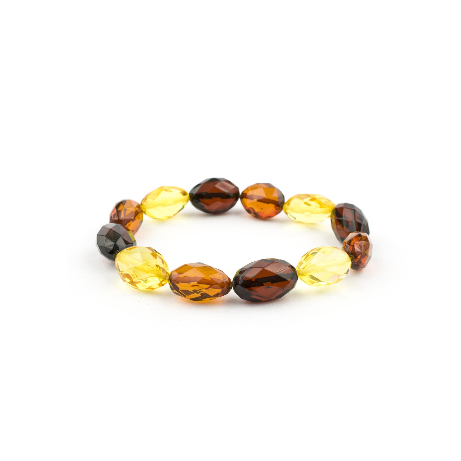 Color Beads Faceted Amber Bracelet