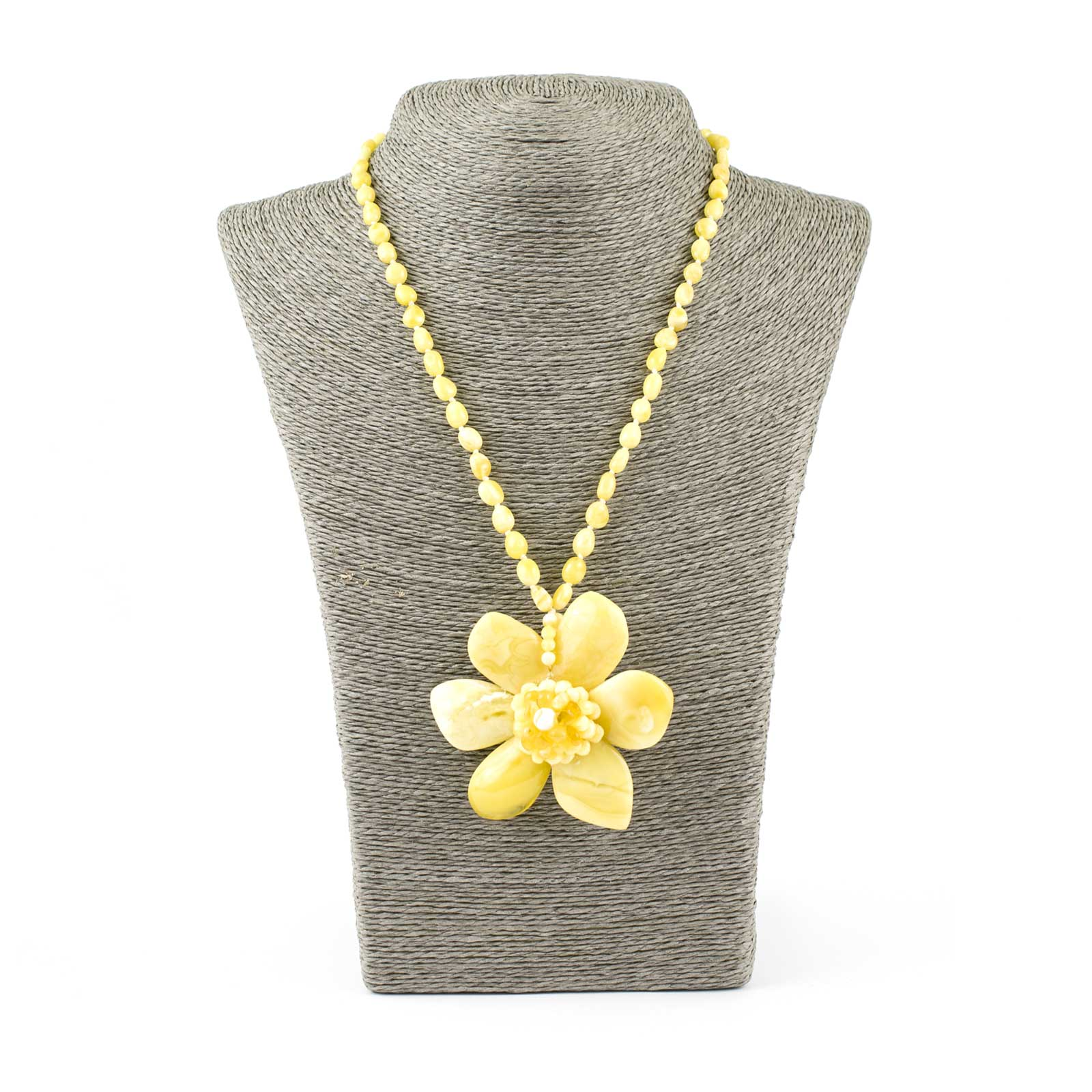"""Yellow Amber Necklace with Flower Pendant """"Orchid"""""""