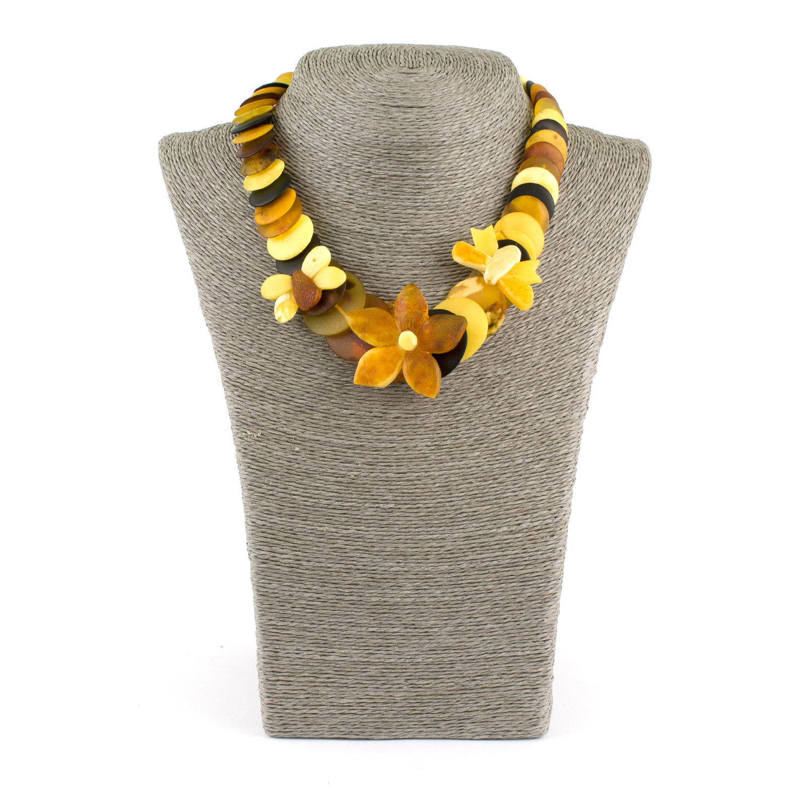 Summer Necklace with Unpolished Amber Beads