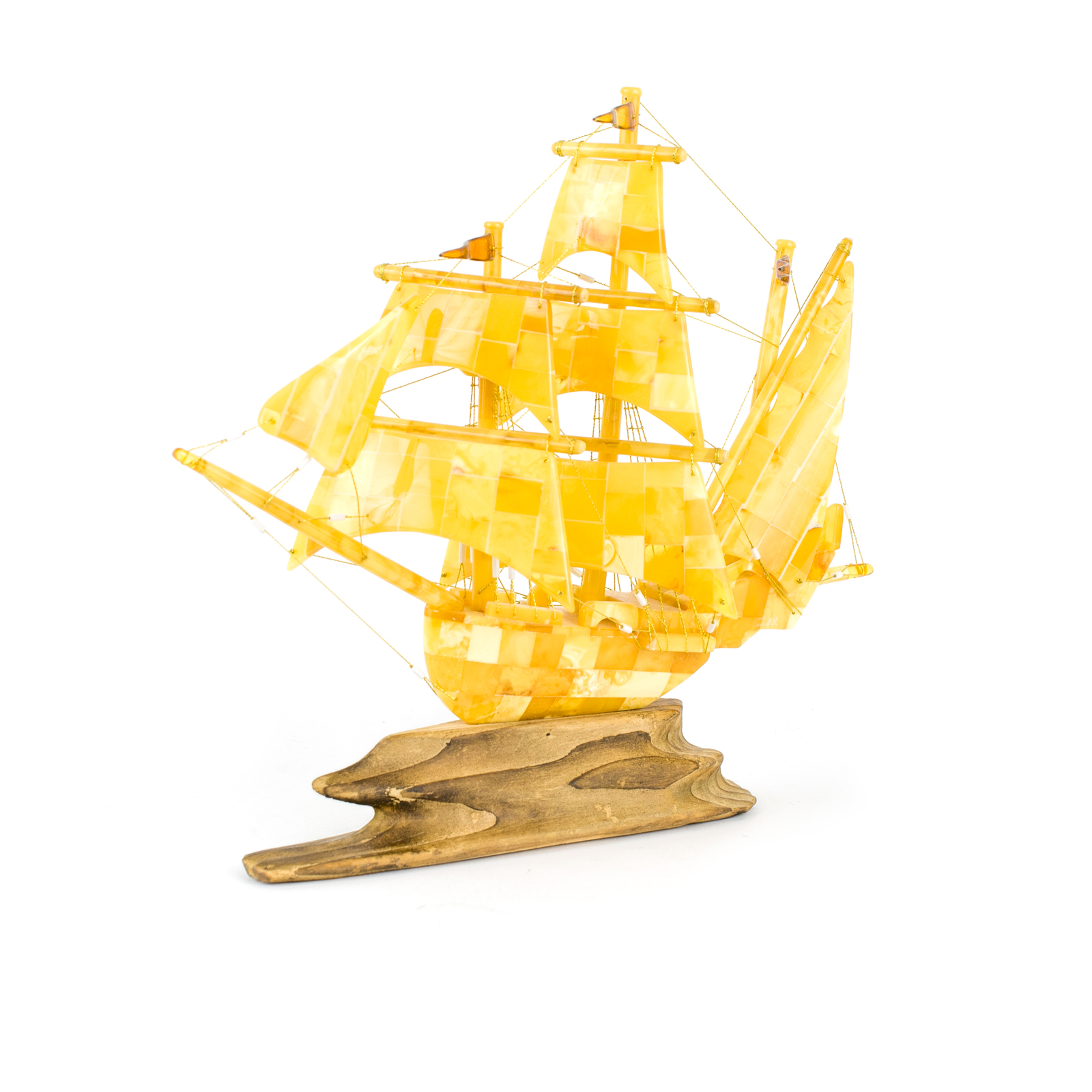 """Ship Figurine from Natural Baltic Amber """"Charlotte"""""""
